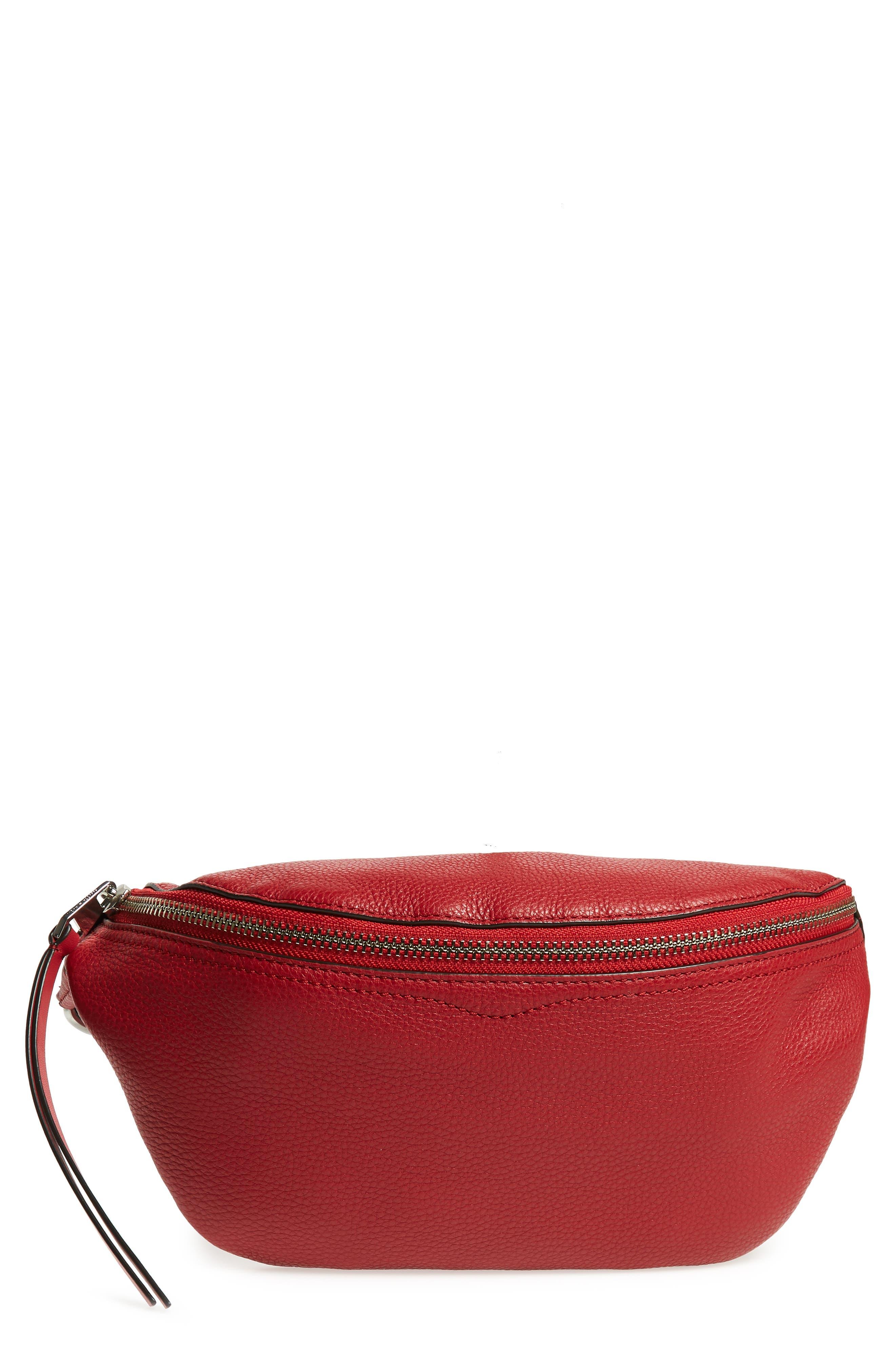 Bree Leather Belt Bag,                         Main,                         color, SCARLET