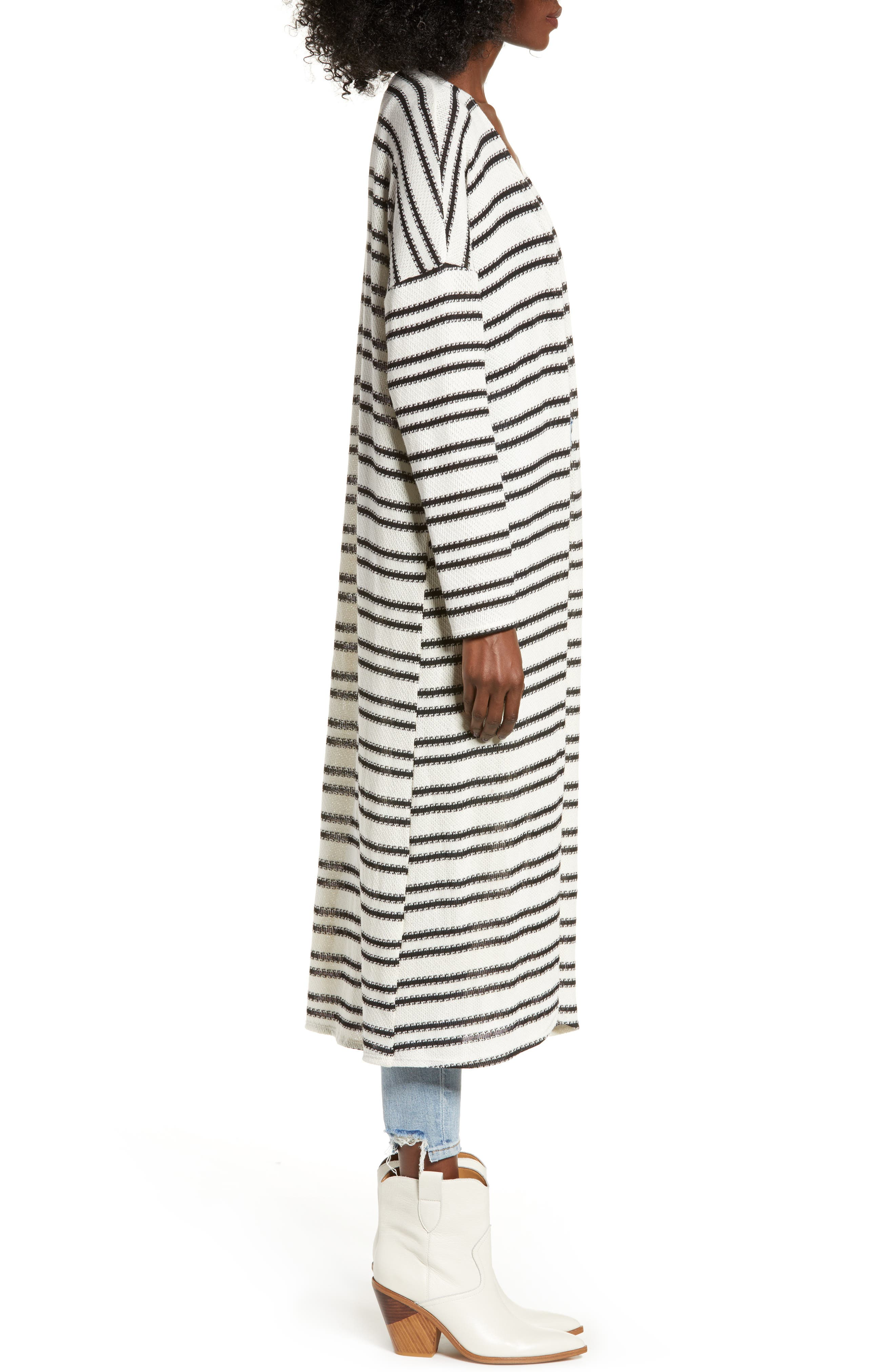 ALL IN FAVOR,                             Stripe Longline Cardigan,                             Alternate thumbnail 3, color,                             900