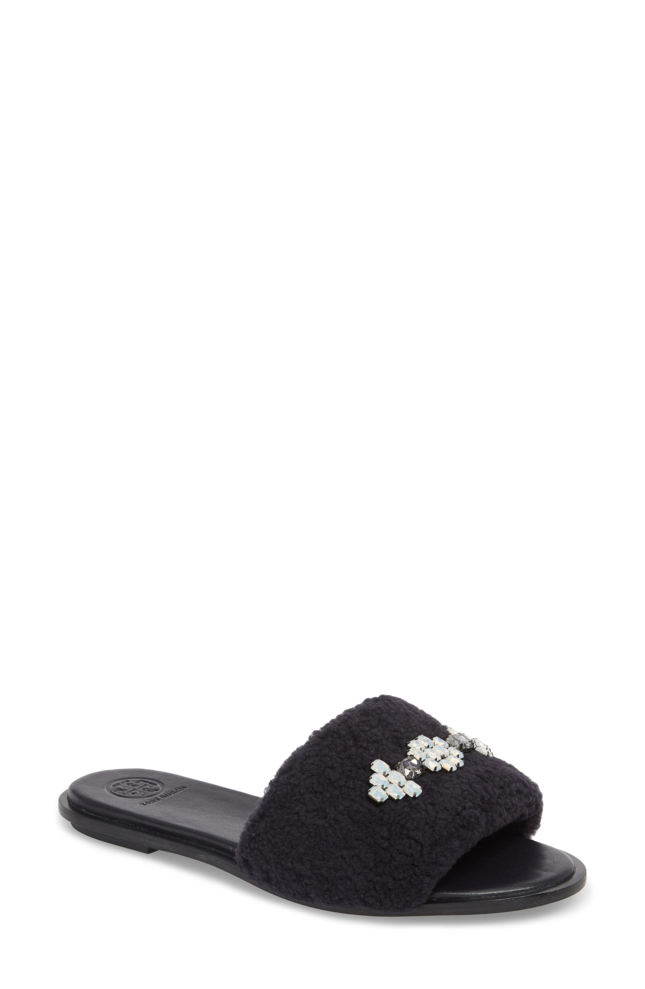 Embellished Genuine Shearling Slide Sandal,                             Main thumbnail 1, color,                             PERFECT NAVY