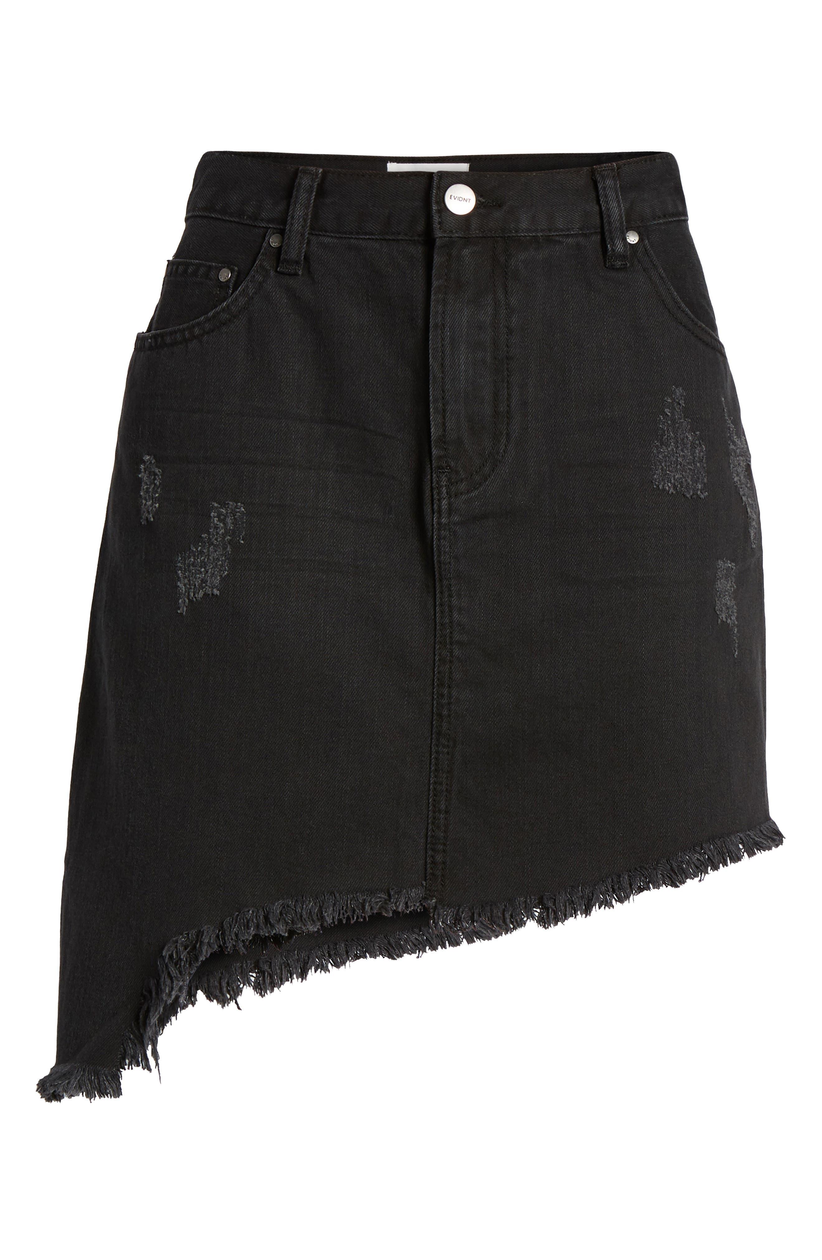 EVDNT Modena Asymmetrical Denim Skirt,                             Alternate thumbnail 7, color,                             001