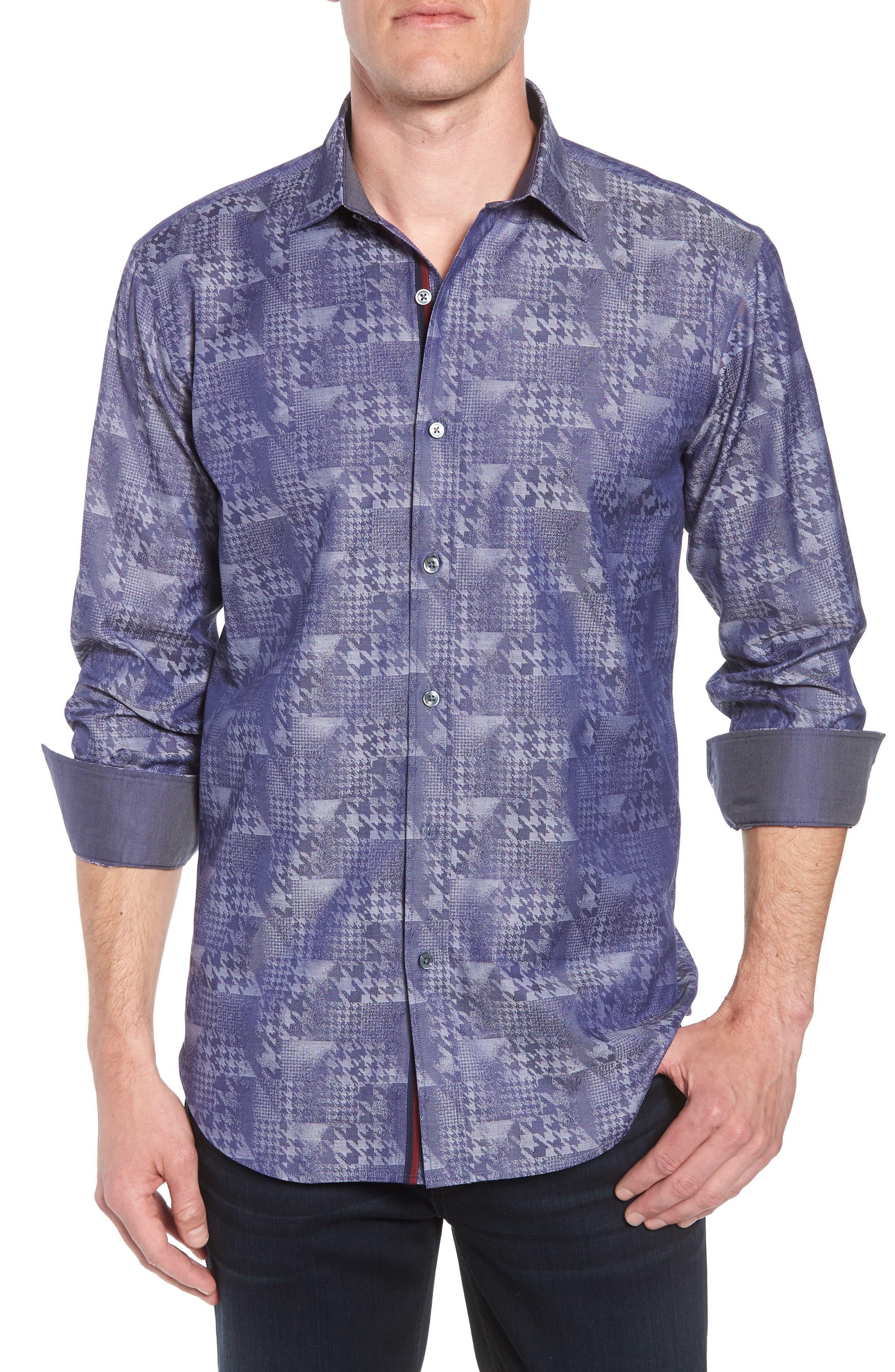 Shaped Fit Glen Check Sport Shirt, Main, color, INDIGO
