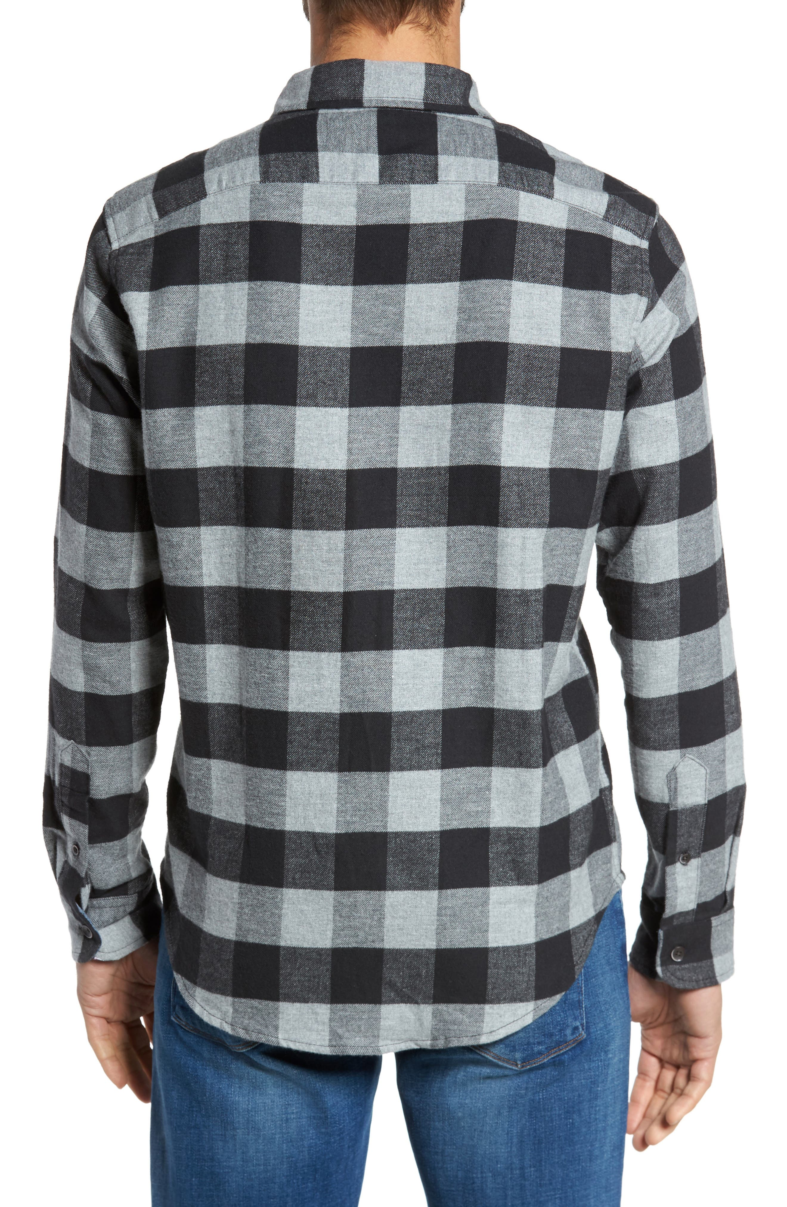 Buffalo Check Flannel Shirt,                             Alternate thumbnail 3, color,