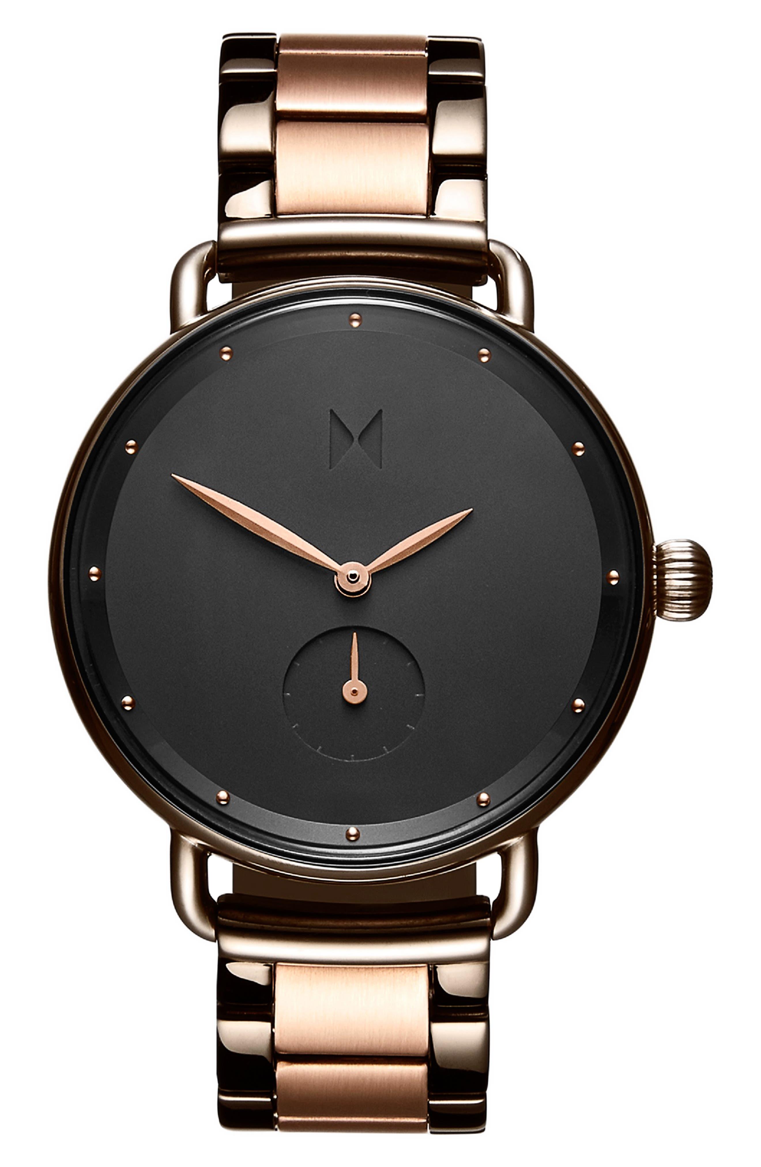MVMT Bloom Bracelet Watch, 36mm, Main, color, ROSE GOLD/ GUNMETAL