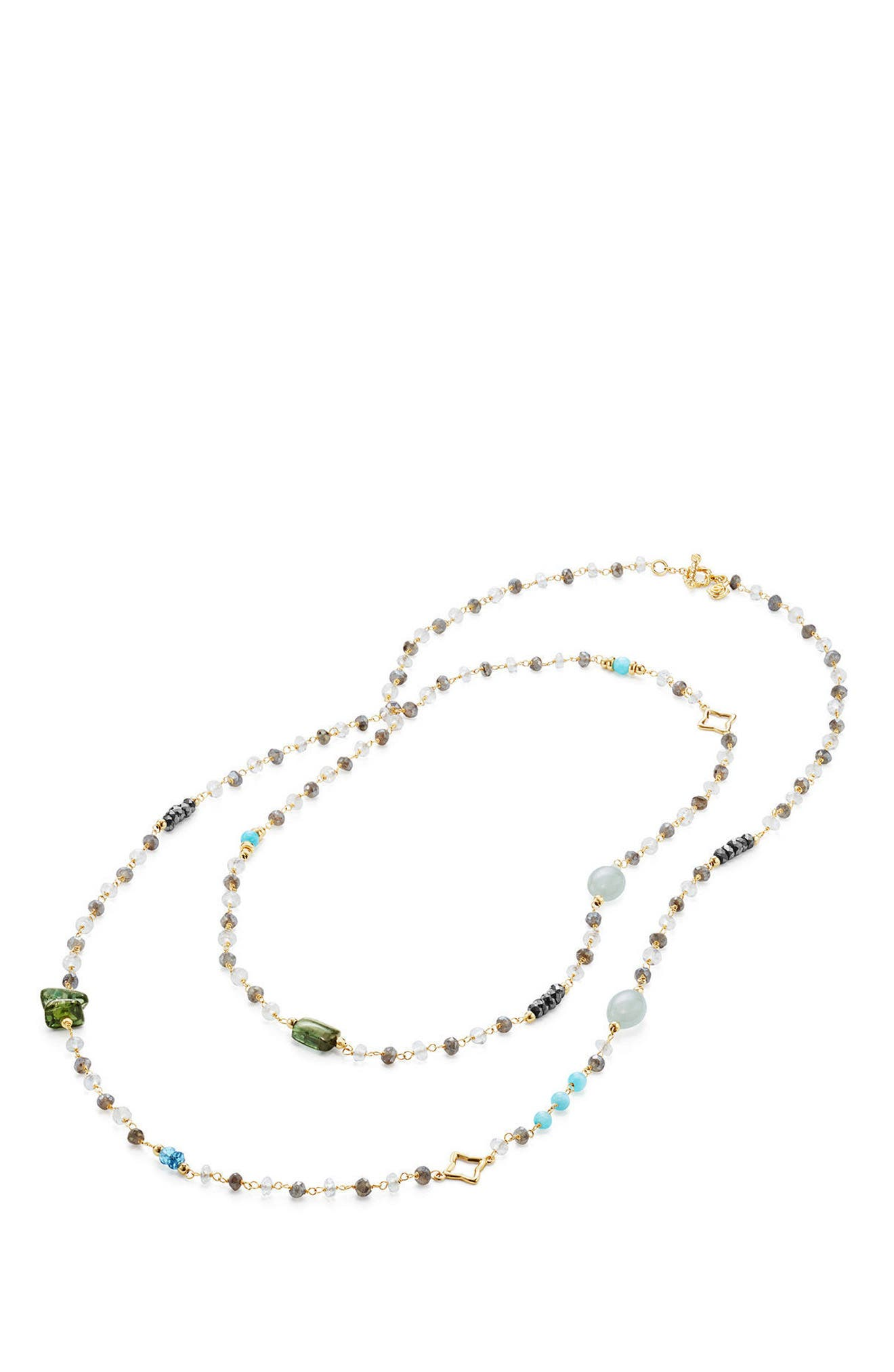 Long Bead & Chain Necklace with Semiprecious Stones in 18K Gold,                             Alternate thumbnail 2, color,                             MALACHITE
