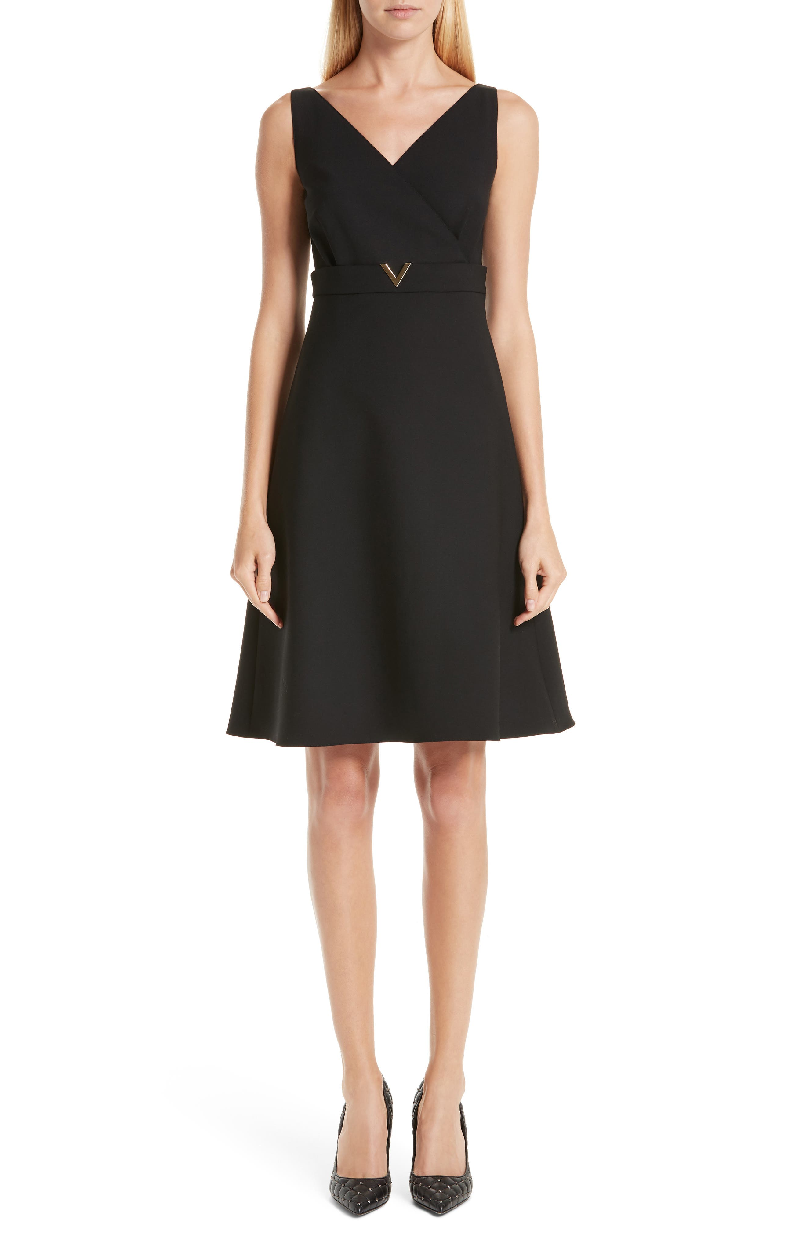 V-Hardware Double Crepe Dress,                             Main thumbnail 1, color,                             BLACK