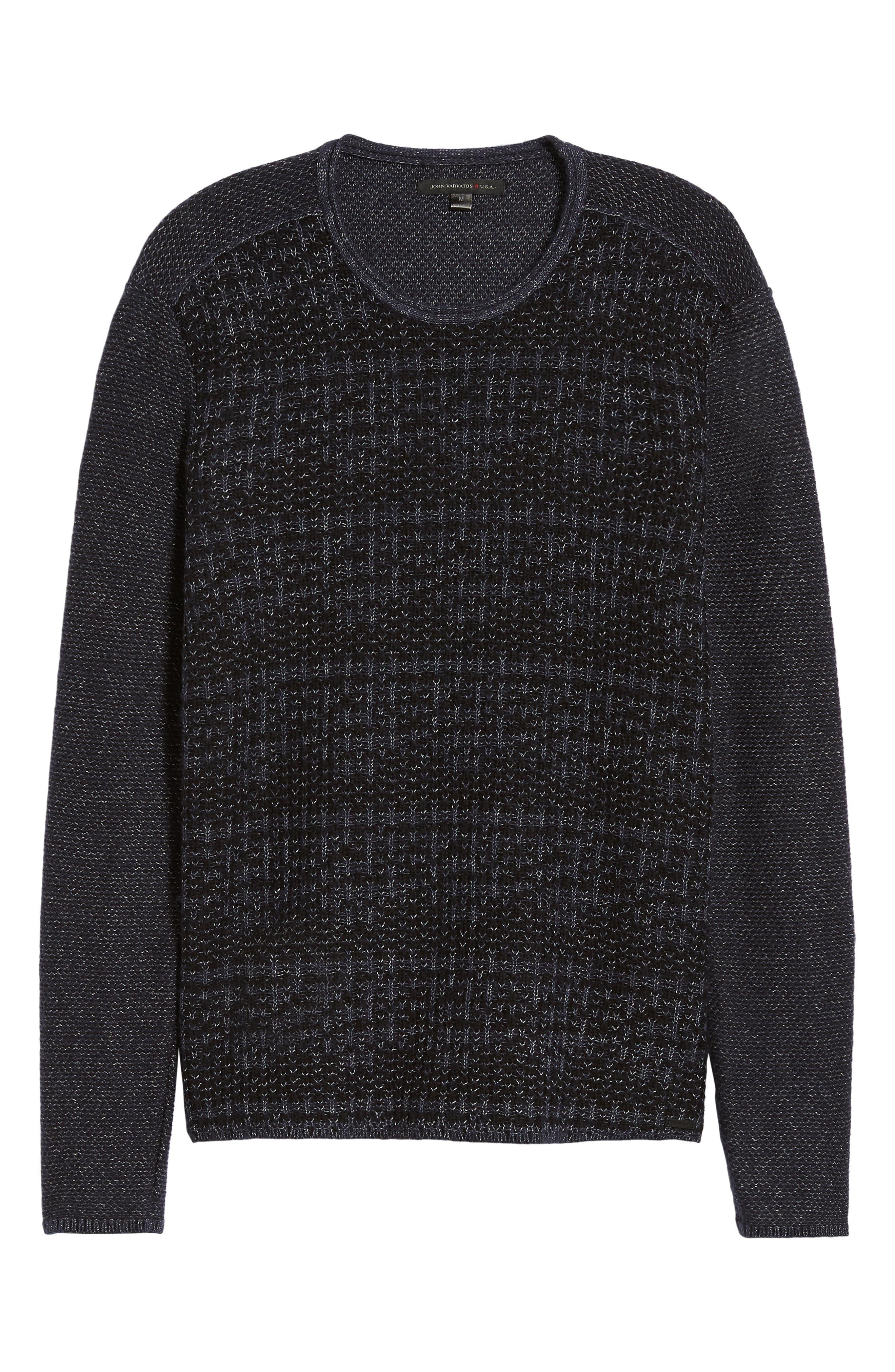Mix Stitch Regular Fit Cotton Blend Sweater,                             Alternate thumbnail 6, color,                             INK BLUE