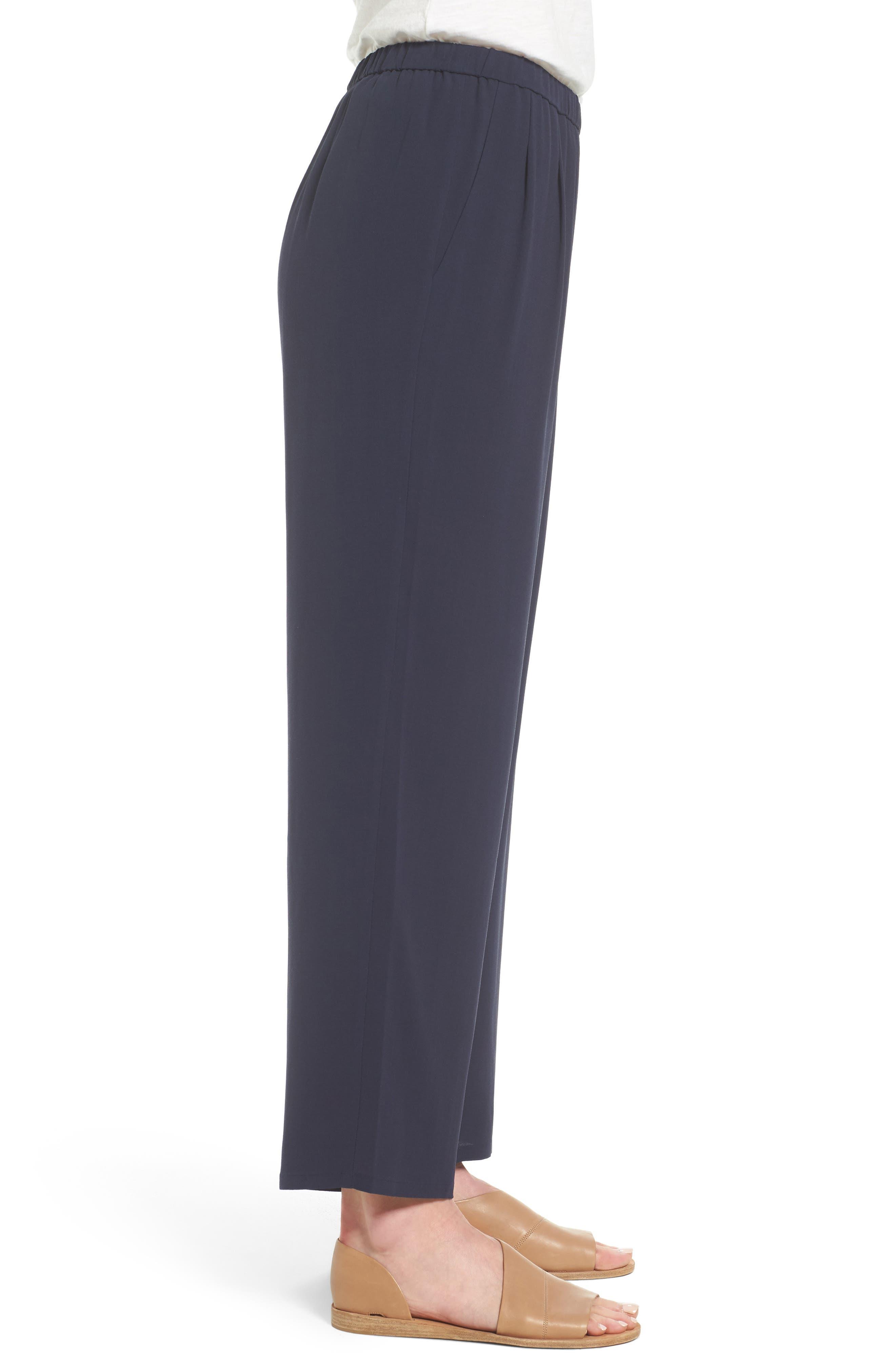 Silk Georgette Crepe Straight Ankle Pants,                             Alternate thumbnail 16, color,
