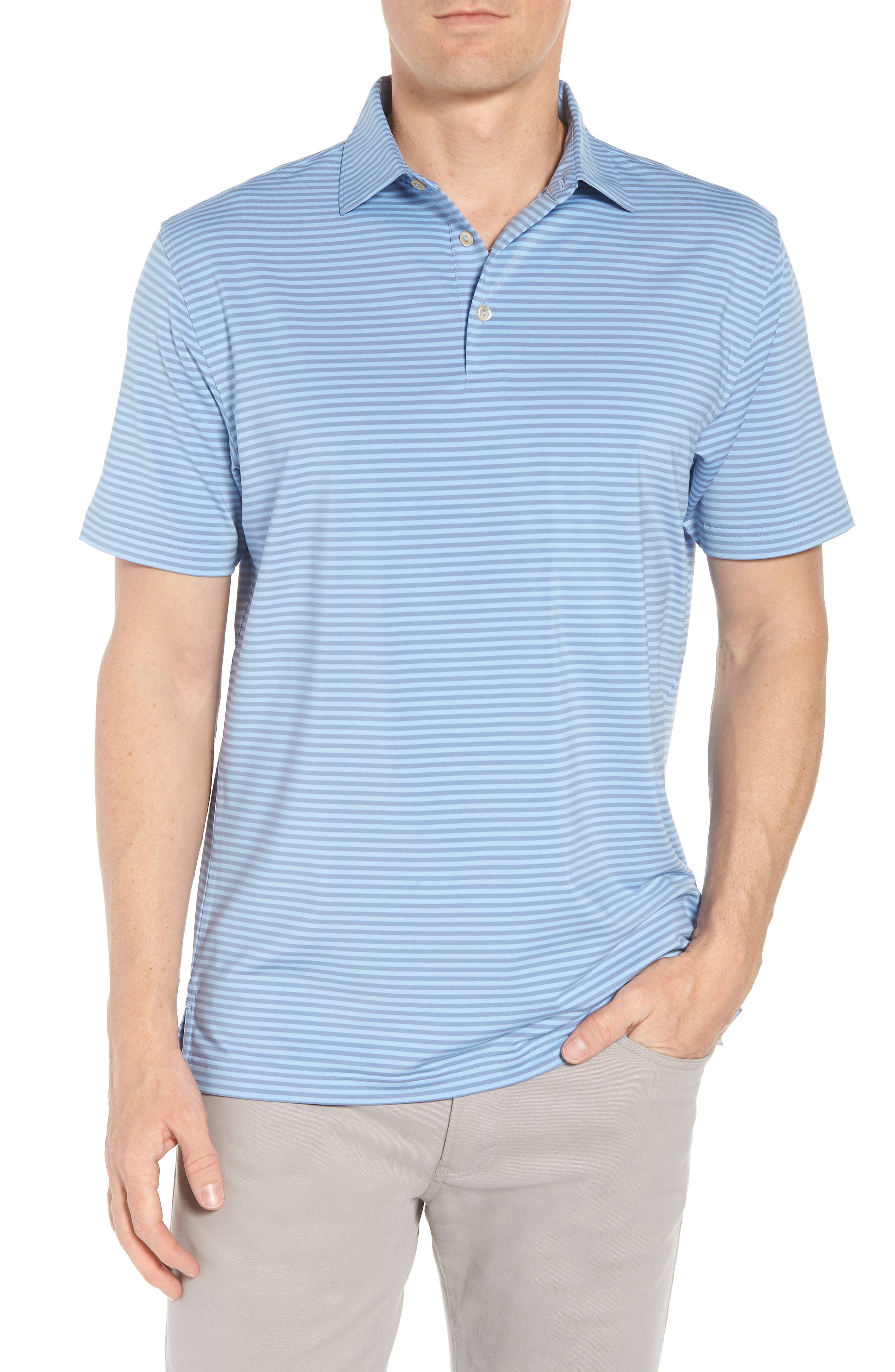Competition Stripe Stretch Jersey Polo,                             Main thumbnail 1, color,                             COTTAGE BLUE