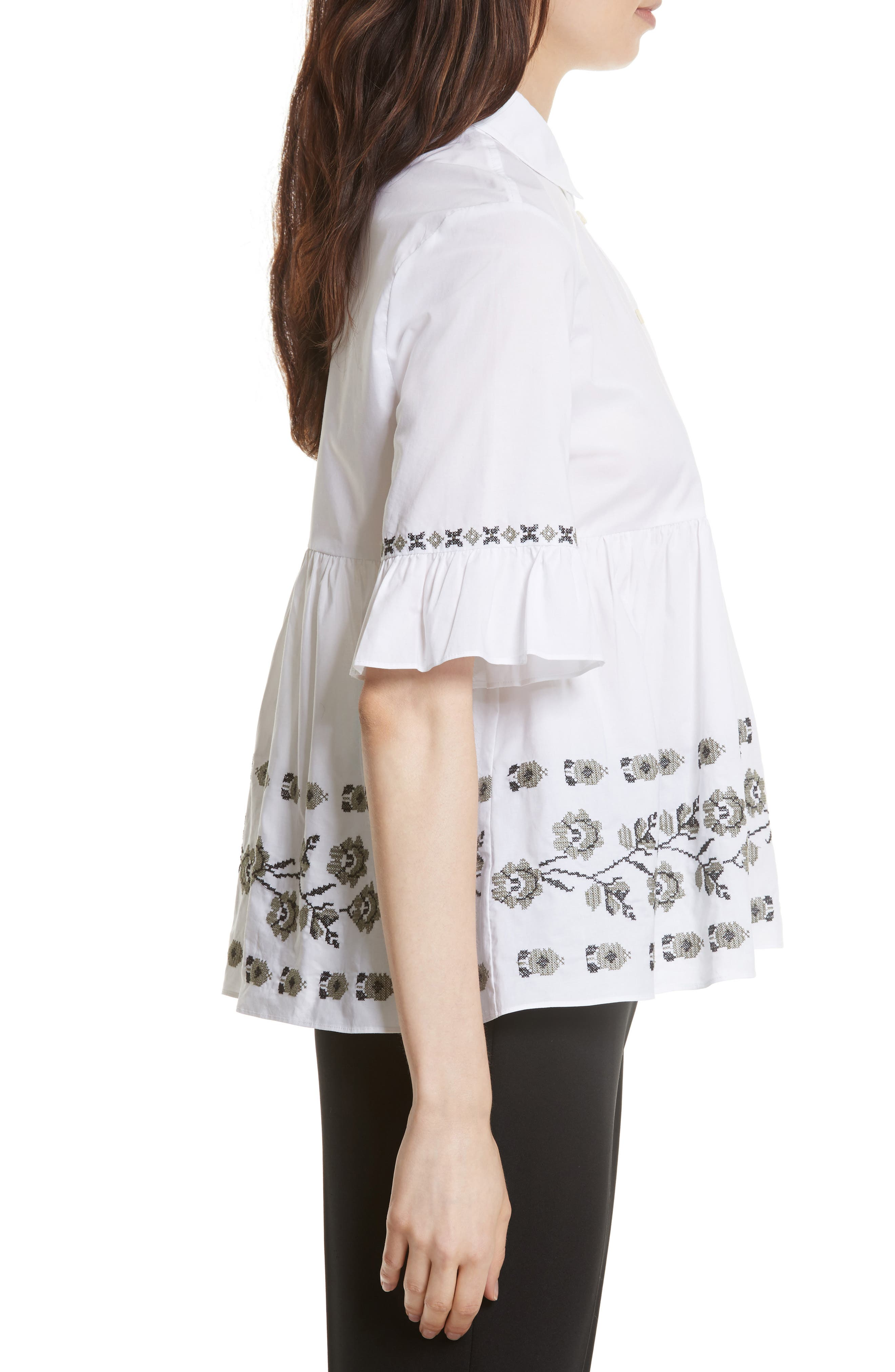 embroidered ruffle shirt,                             Alternate thumbnail 3, color,                             107