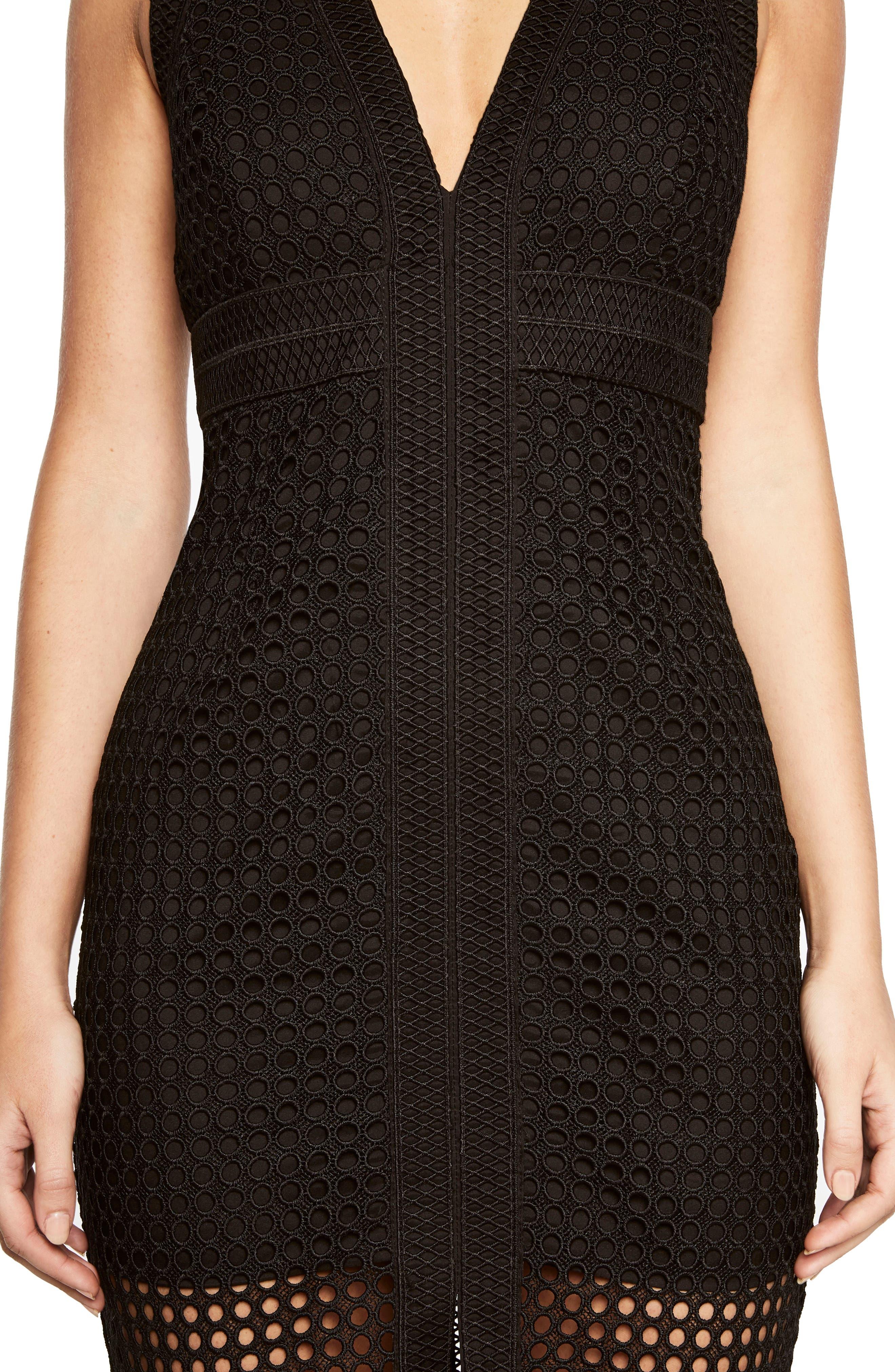 Layered Crochet Sheath Dress,                             Alternate thumbnail 4, color,                             001