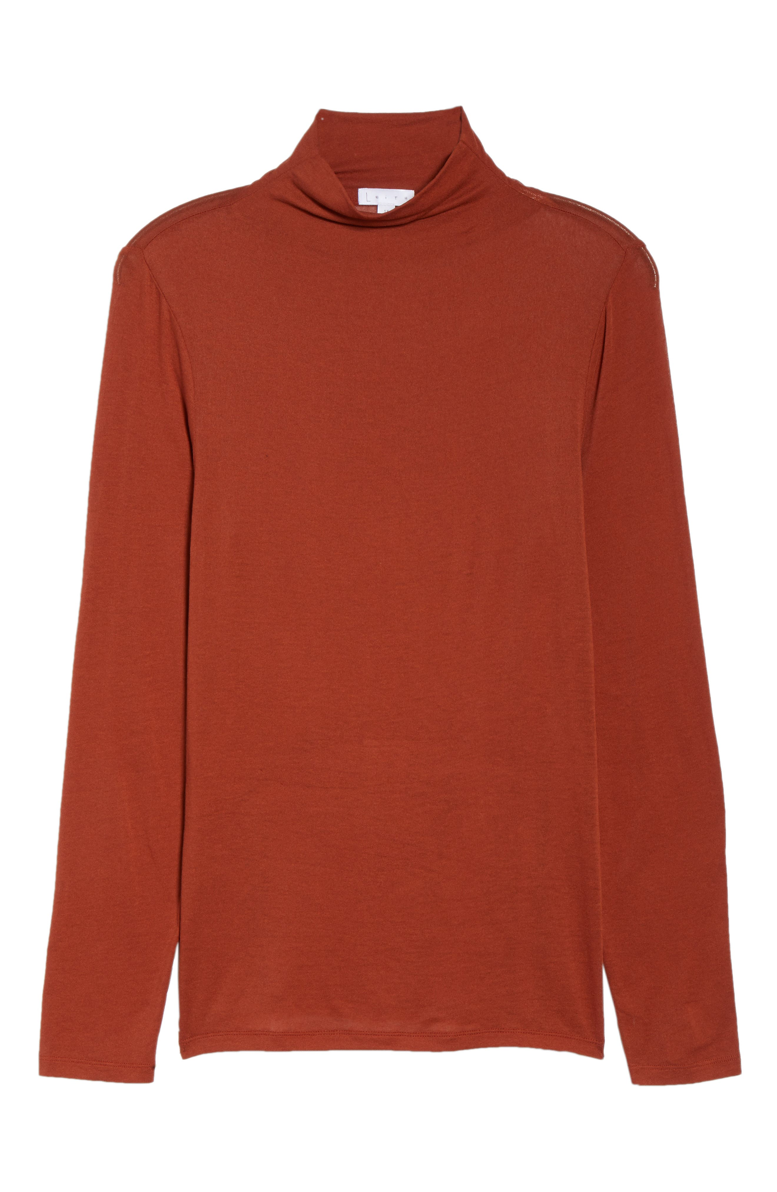 Lightweight Long Sleeve Funnel Neck Top,                             Alternate thumbnail 12, color,                             BROWN SPICE