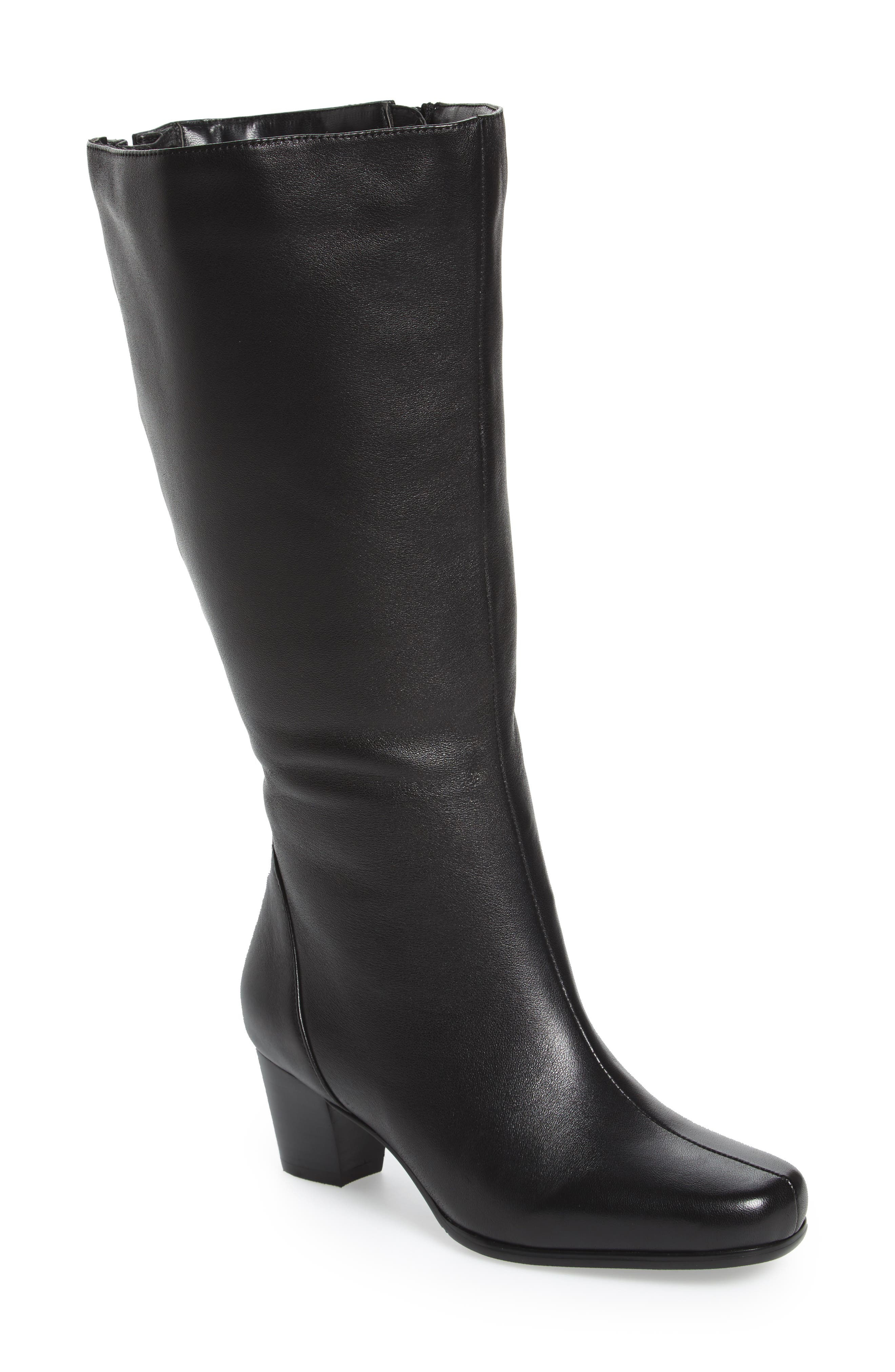 Tacoma 18 Tall Boot,                             Main thumbnail 1, color,                             BLACK LEATHER