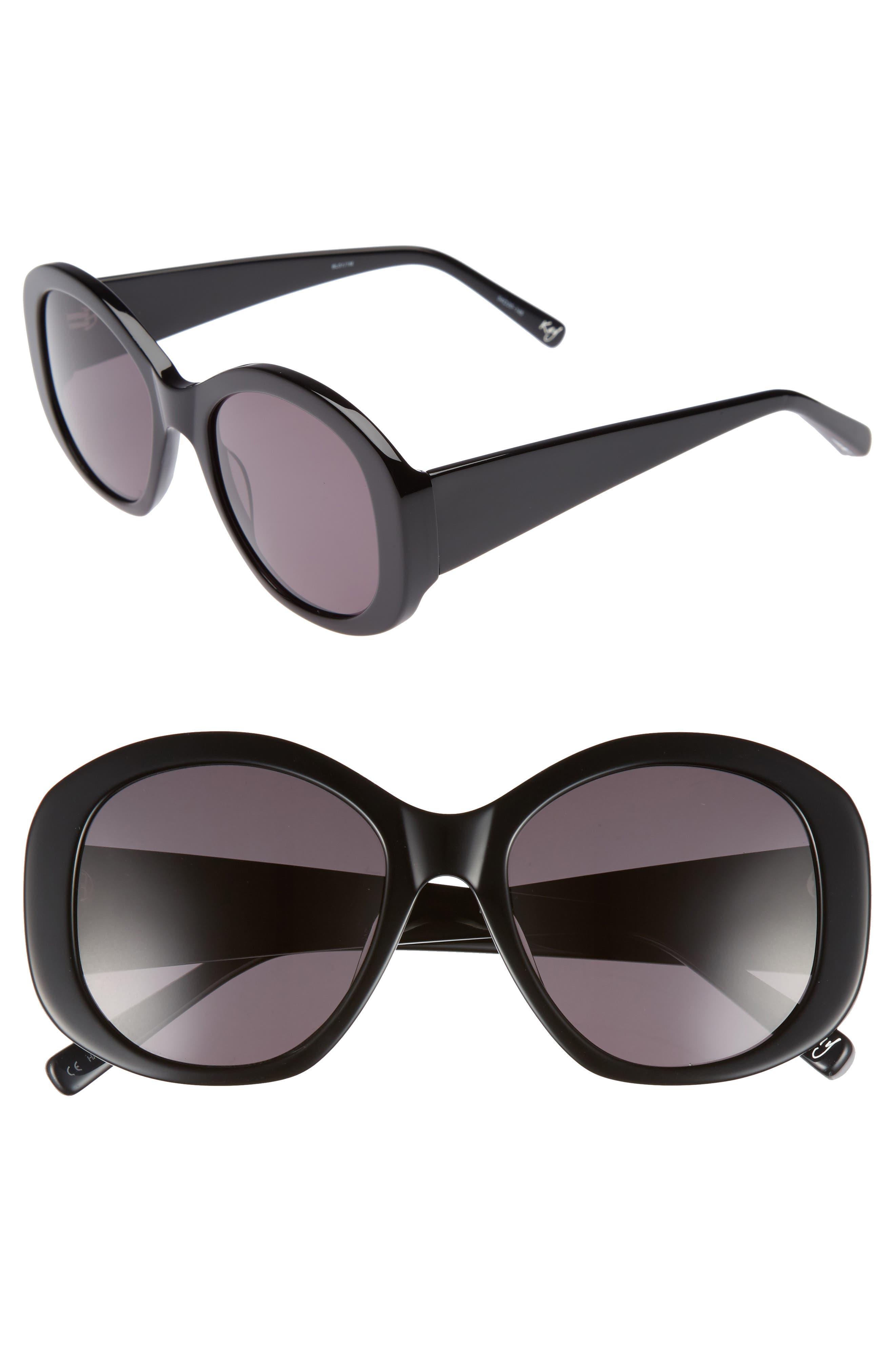 Kay 54mm Round Sunglasses,                             Main thumbnail 1, color,                             001