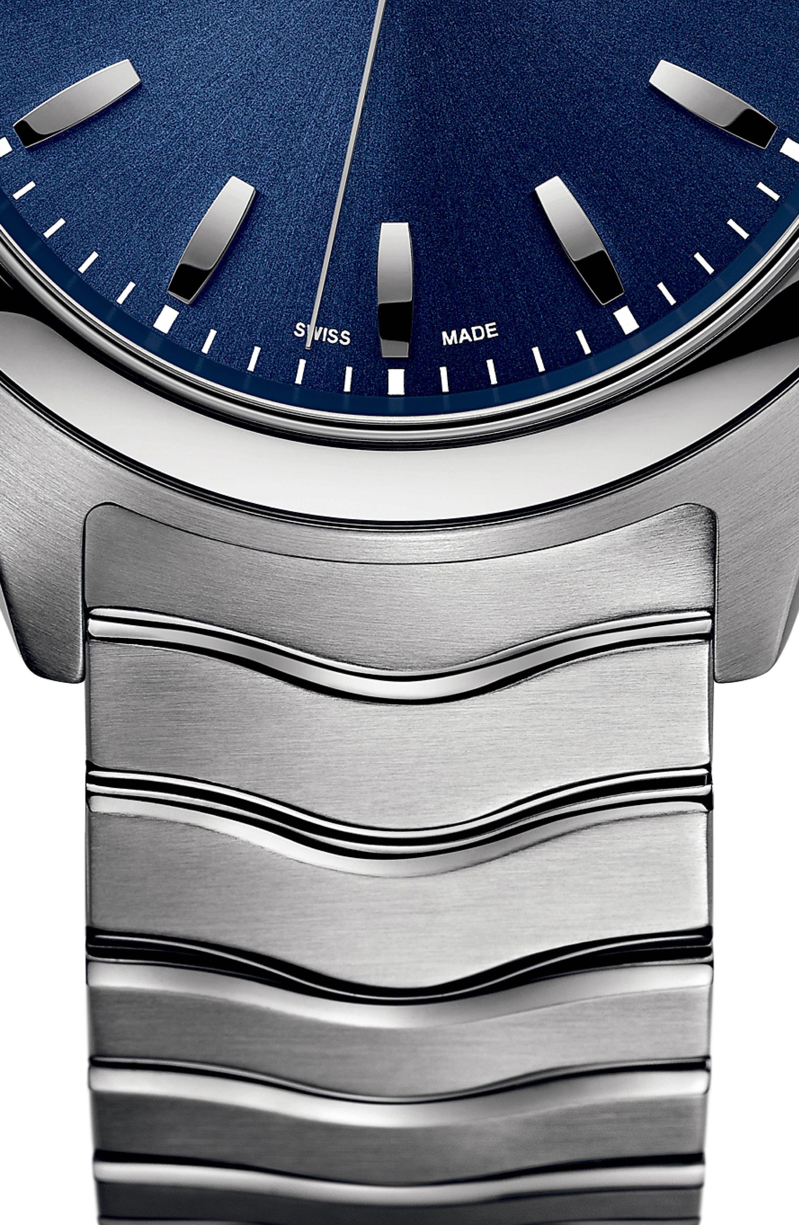 Wave Bracelet Watch, 40mm,                             Alternate thumbnail 4, color,                             SILVER/ BLUE/ SILVER