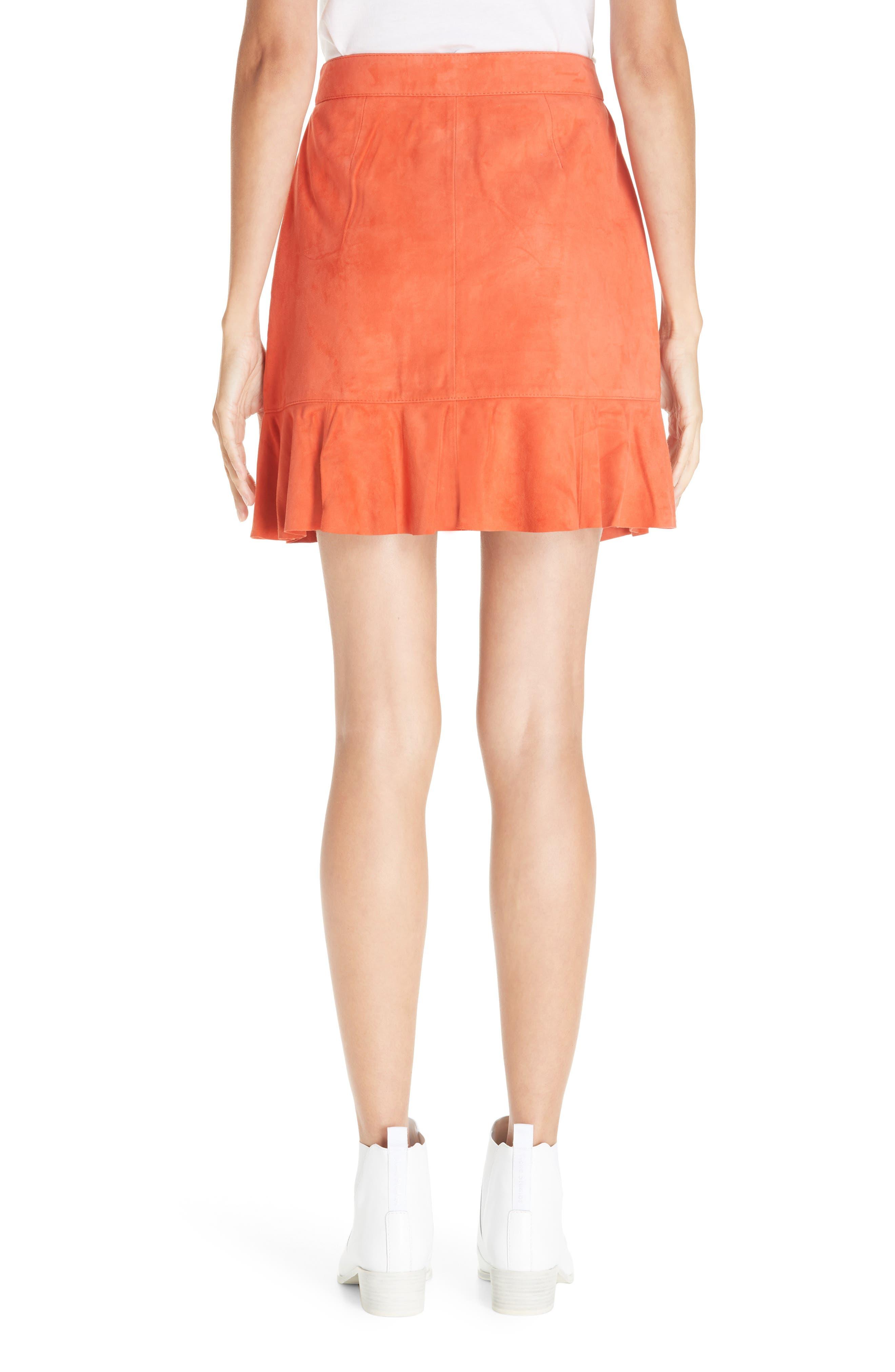 GANNI,                             Salvia Suede Skirt,                             Alternate thumbnail 2, color,                             800