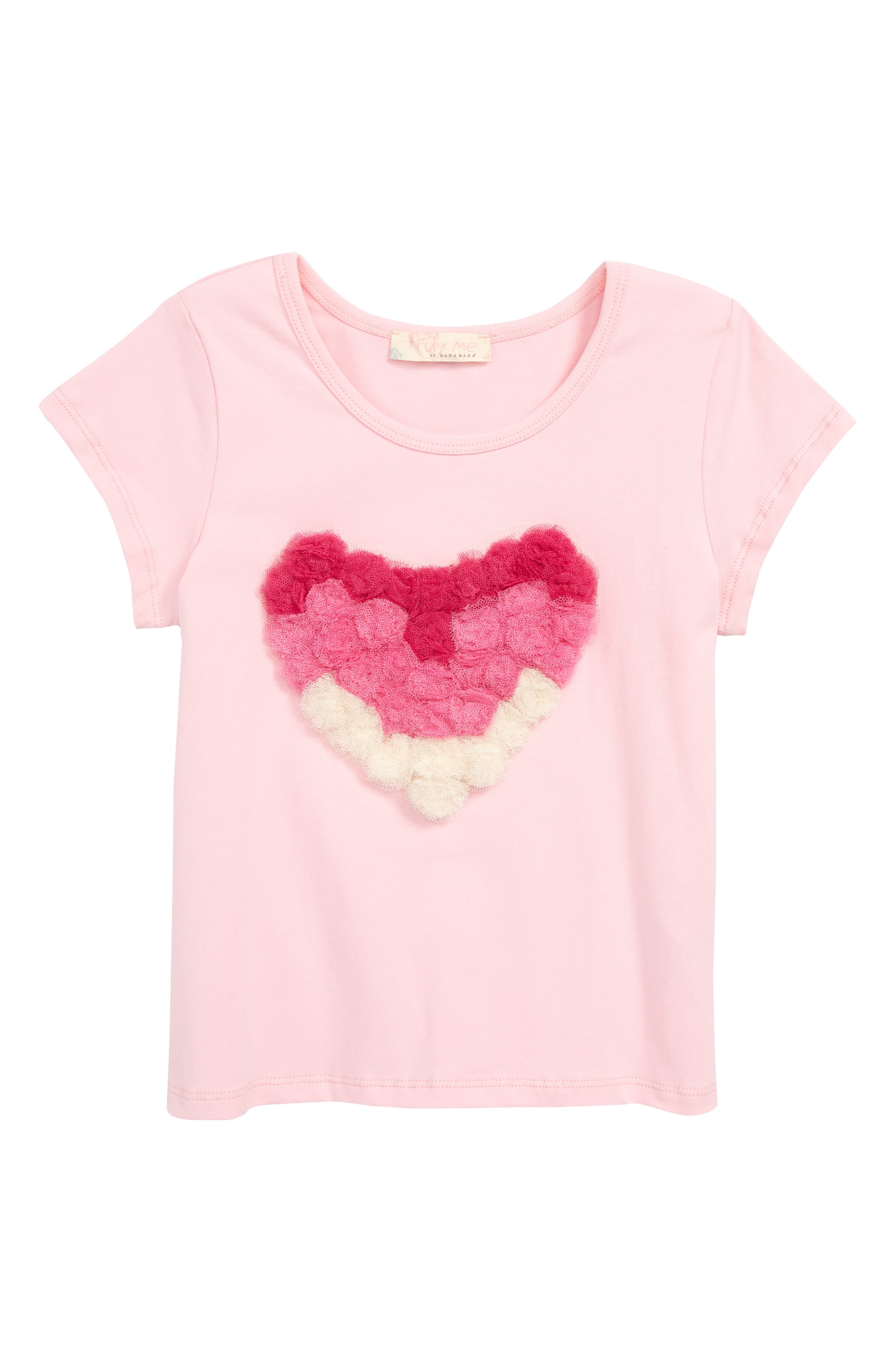 TRULY ME,                             Heart Appliqué Tee,                             Main thumbnail 1, color,                             LIGHT PINK