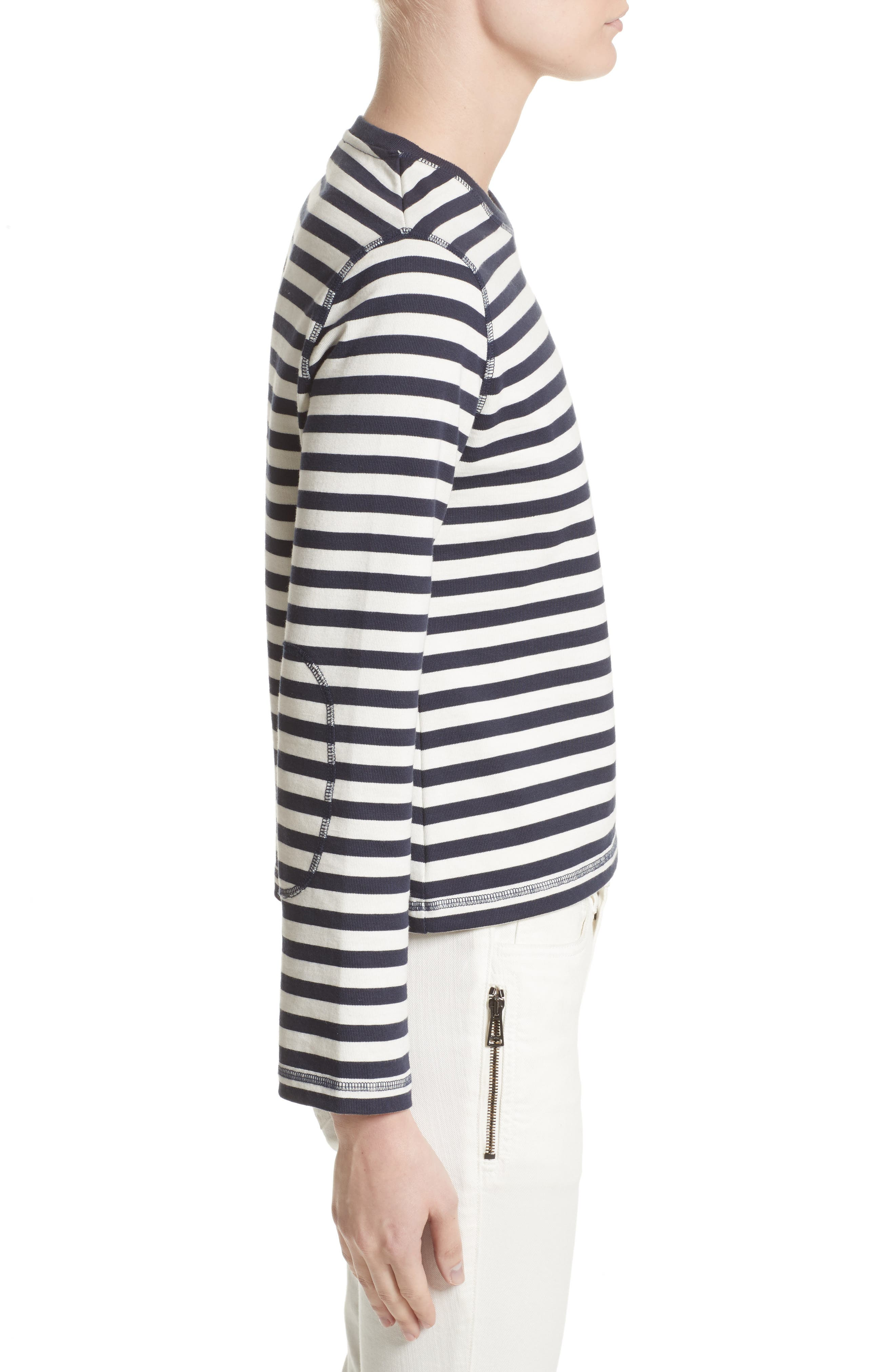 Christina Stripe Cotton Sweater,                             Alternate thumbnail 3, color,                             111