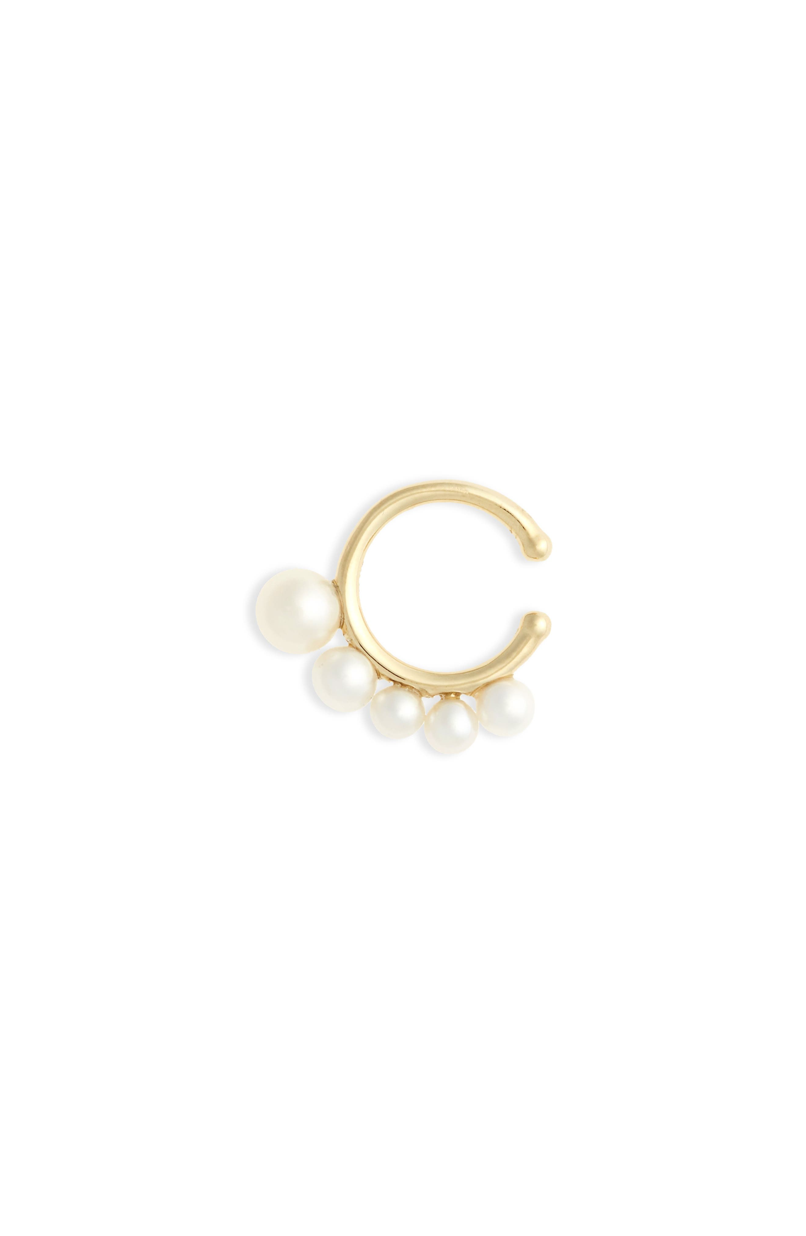 Sea of Beauty Graduated Pearl Ear Cuff,                             Main thumbnail 1, color,                             YELLOW GOLD/ WHITE PEARL