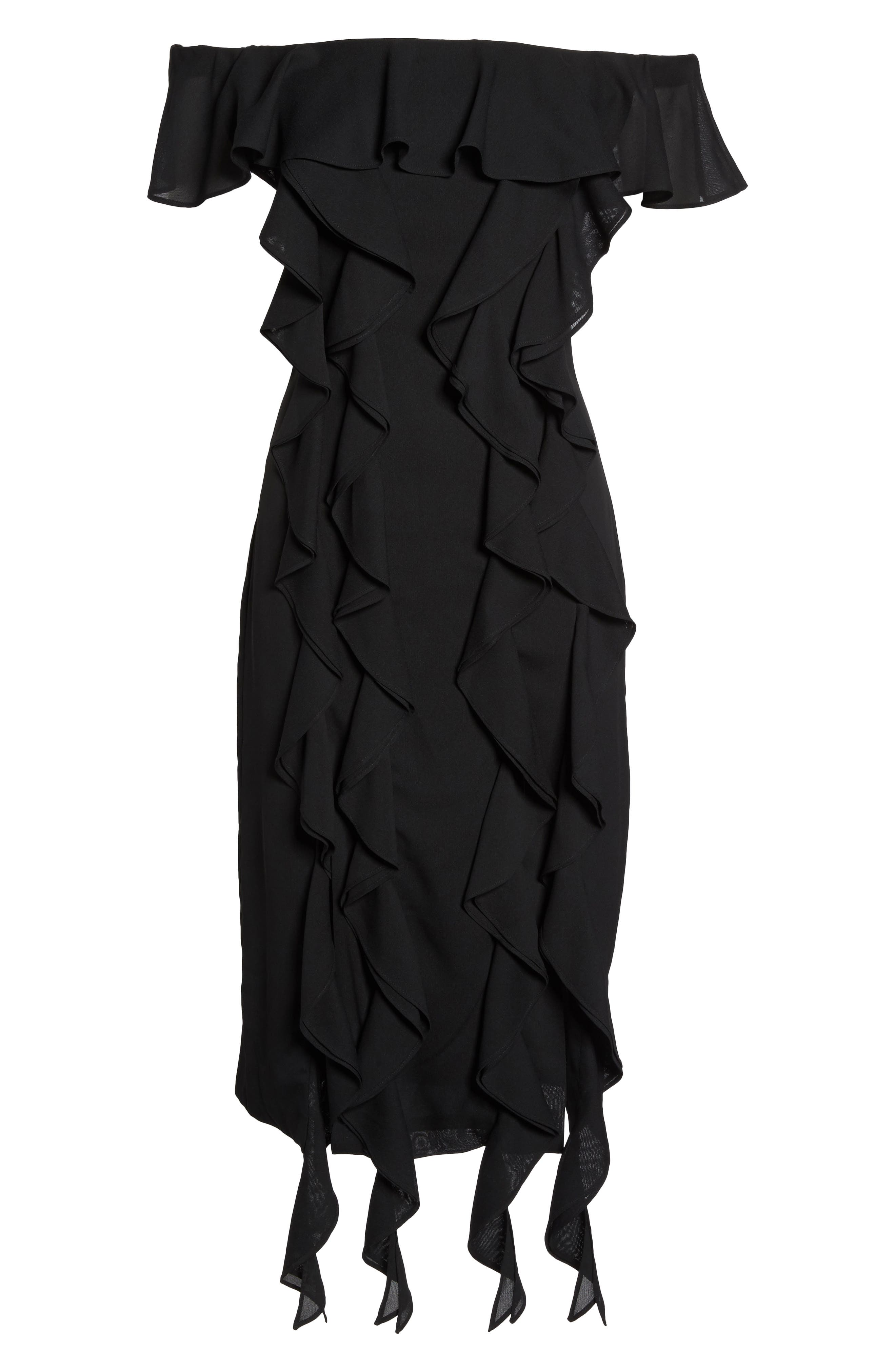 Dream State Off the Shoulder Sheath Dress,                             Alternate thumbnail 6, color,                             001
