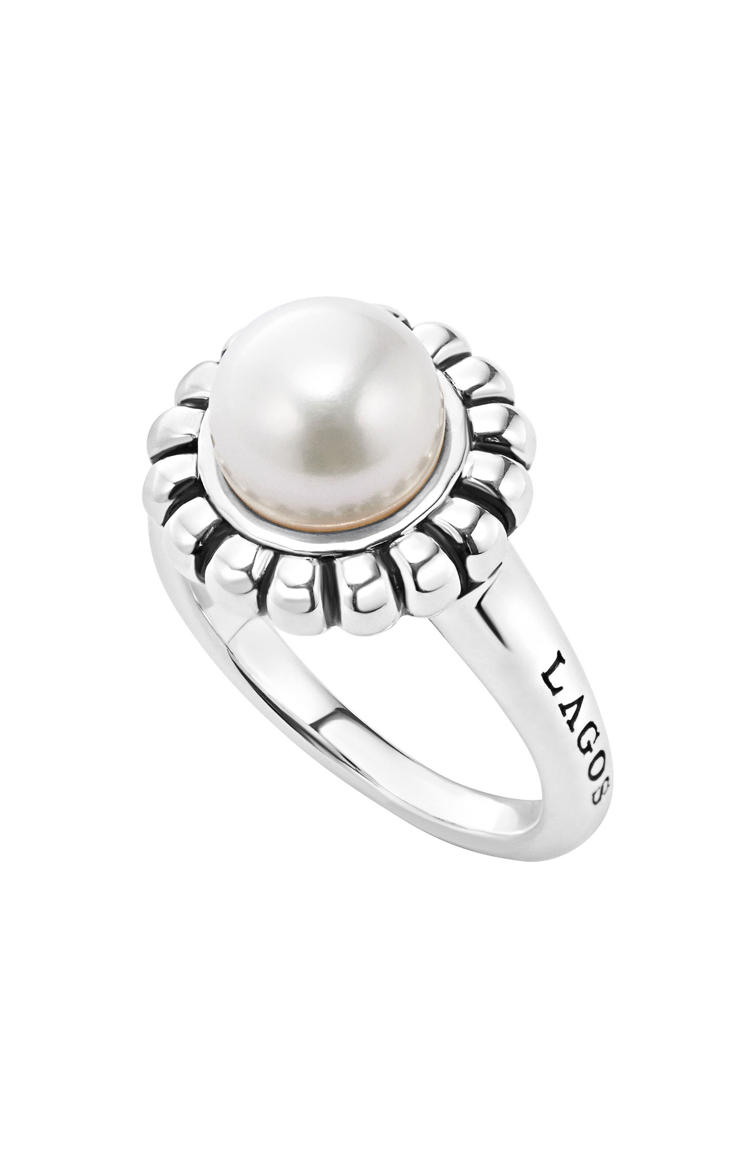 'Luna Pearl' Fluted Ring,                         Main,                         color,