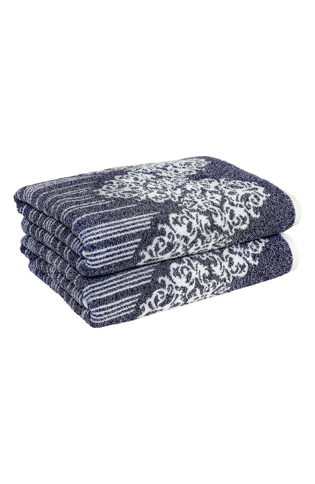Linum 'Gioia' Turkish Cotton Bath Towels,                         Main,                         color, OCEAN BLUE
