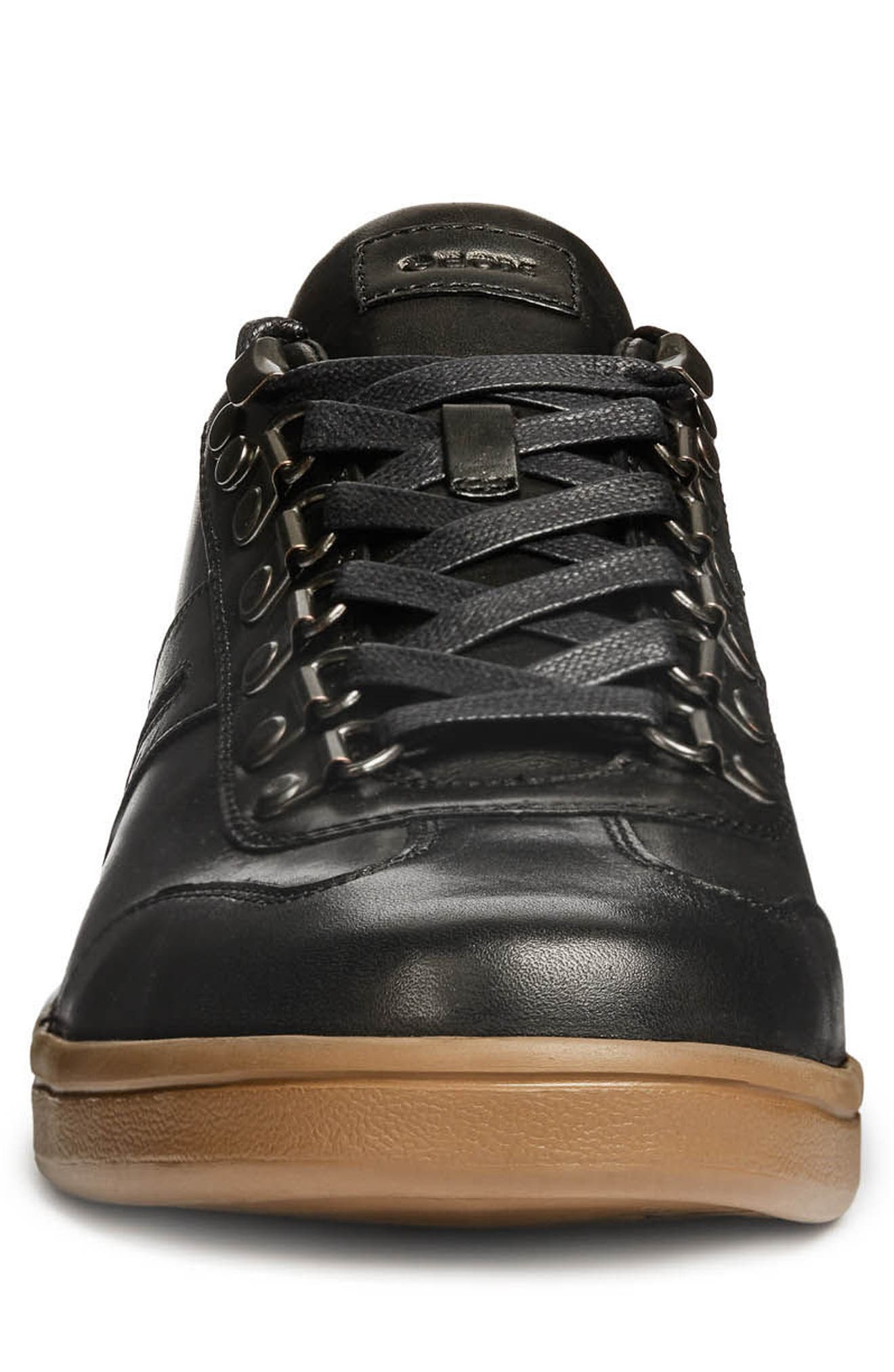 Warrens 12 Low Top Sneaker,                             Alternate thumbnail 4, color,                             BLACK LEATHER