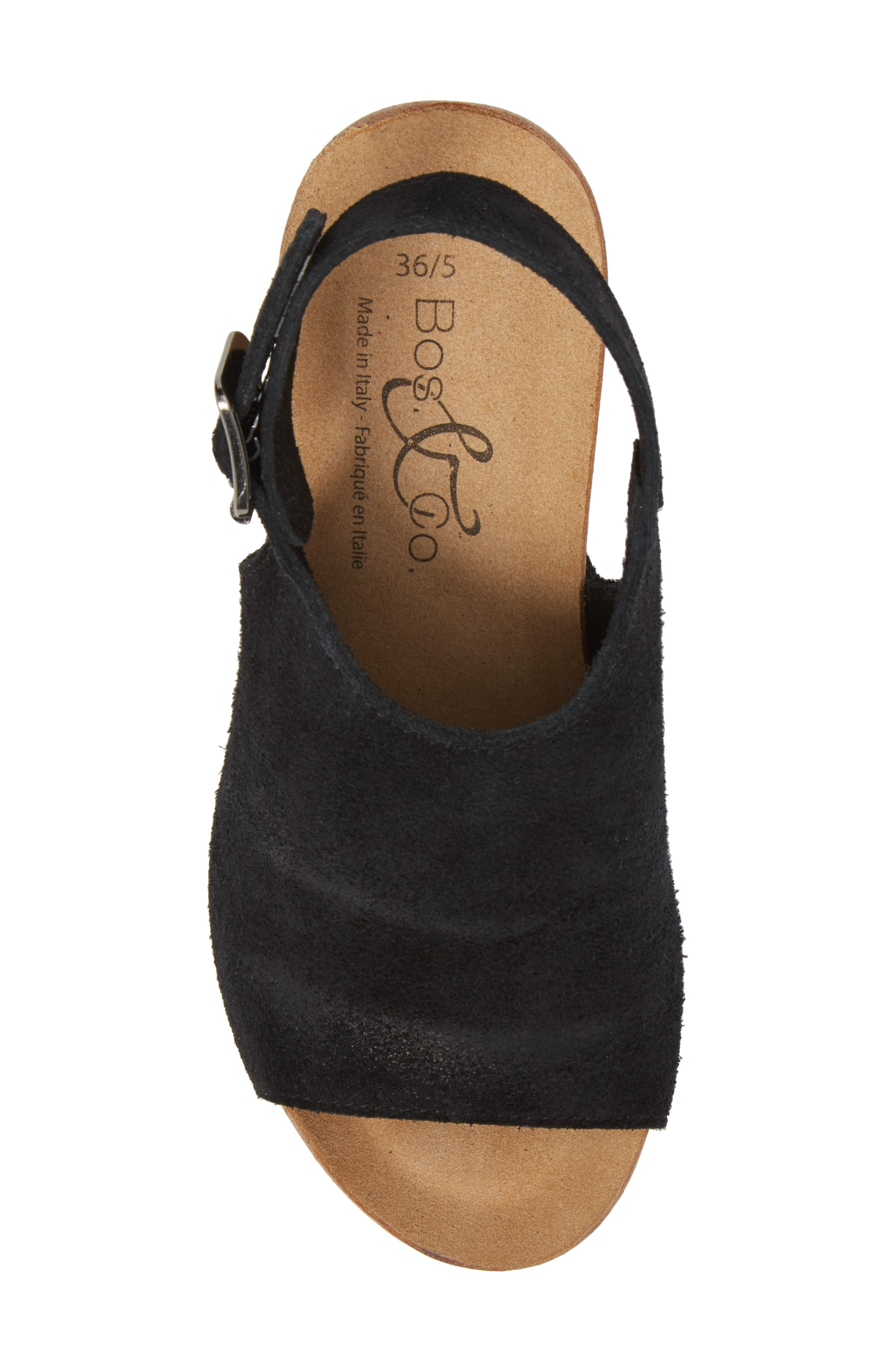 Sheila Platform Wedge Sandal,                             Alternate thumbnail 5, color,                             BLACK NUBUCK