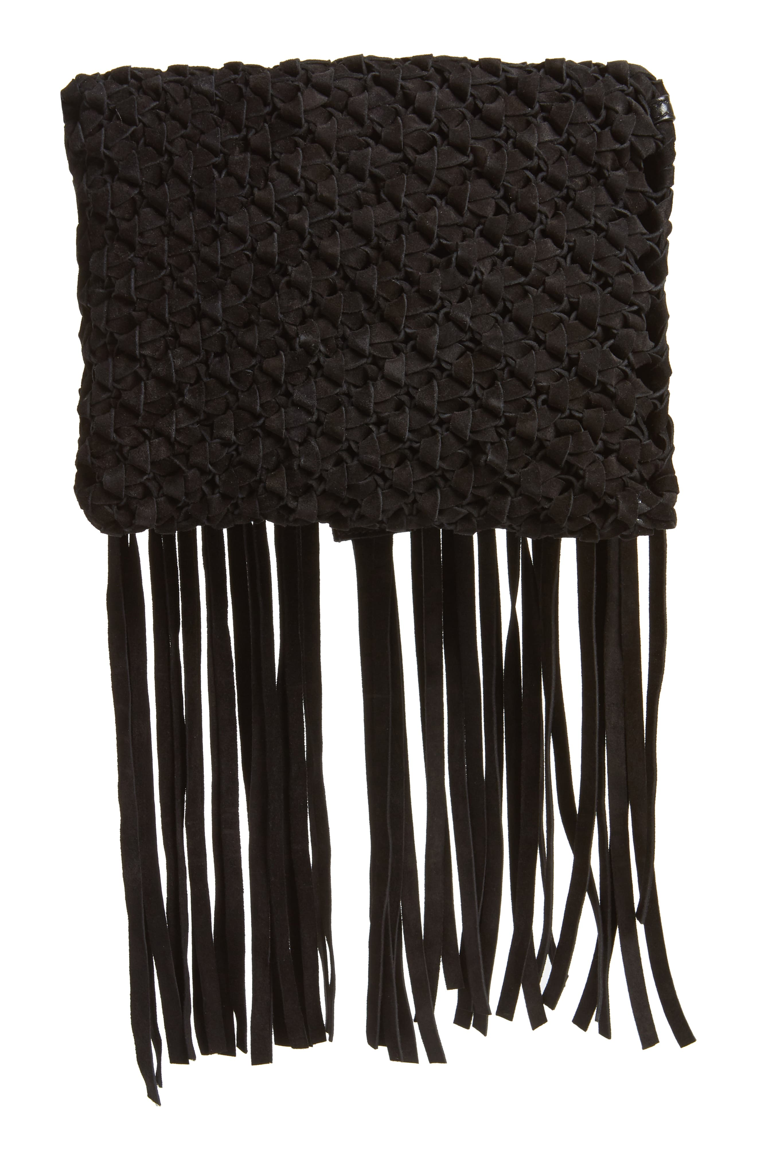 Fringed Leather Clutch,                             Alternate thumbnail 4, color,                             NERO