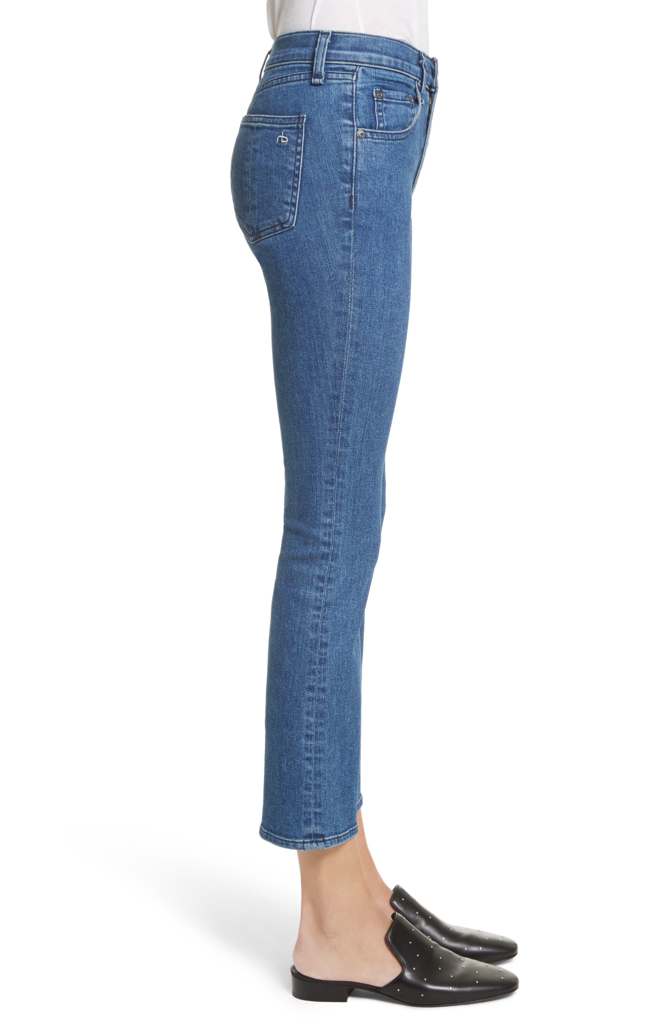 Hana High Waist Crop Bootcut Jeans,                             Alternate thumbnail 3, color,                             420