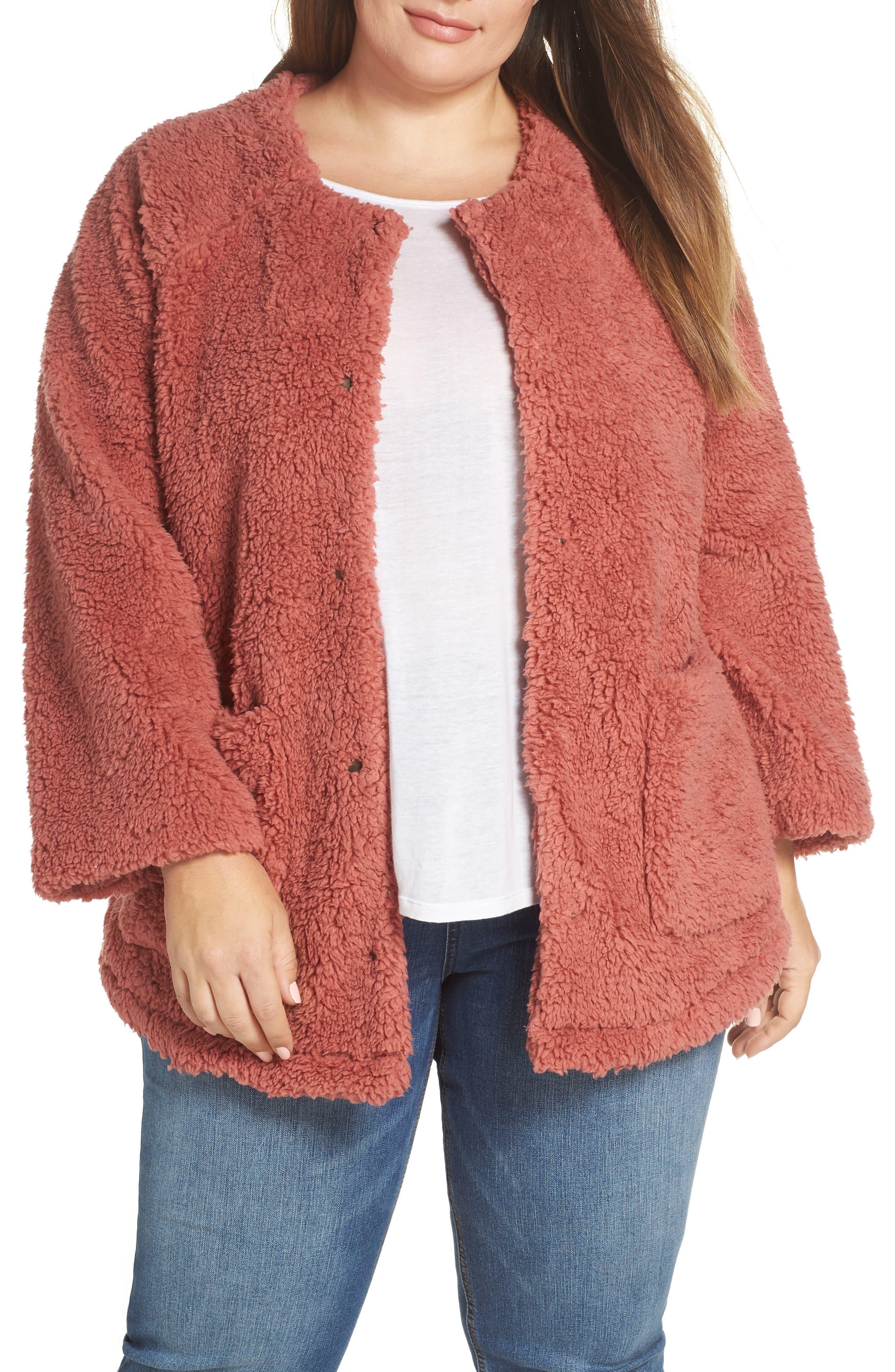 Plus Size Caslon Fuzzy Fleece Jacket, Pink