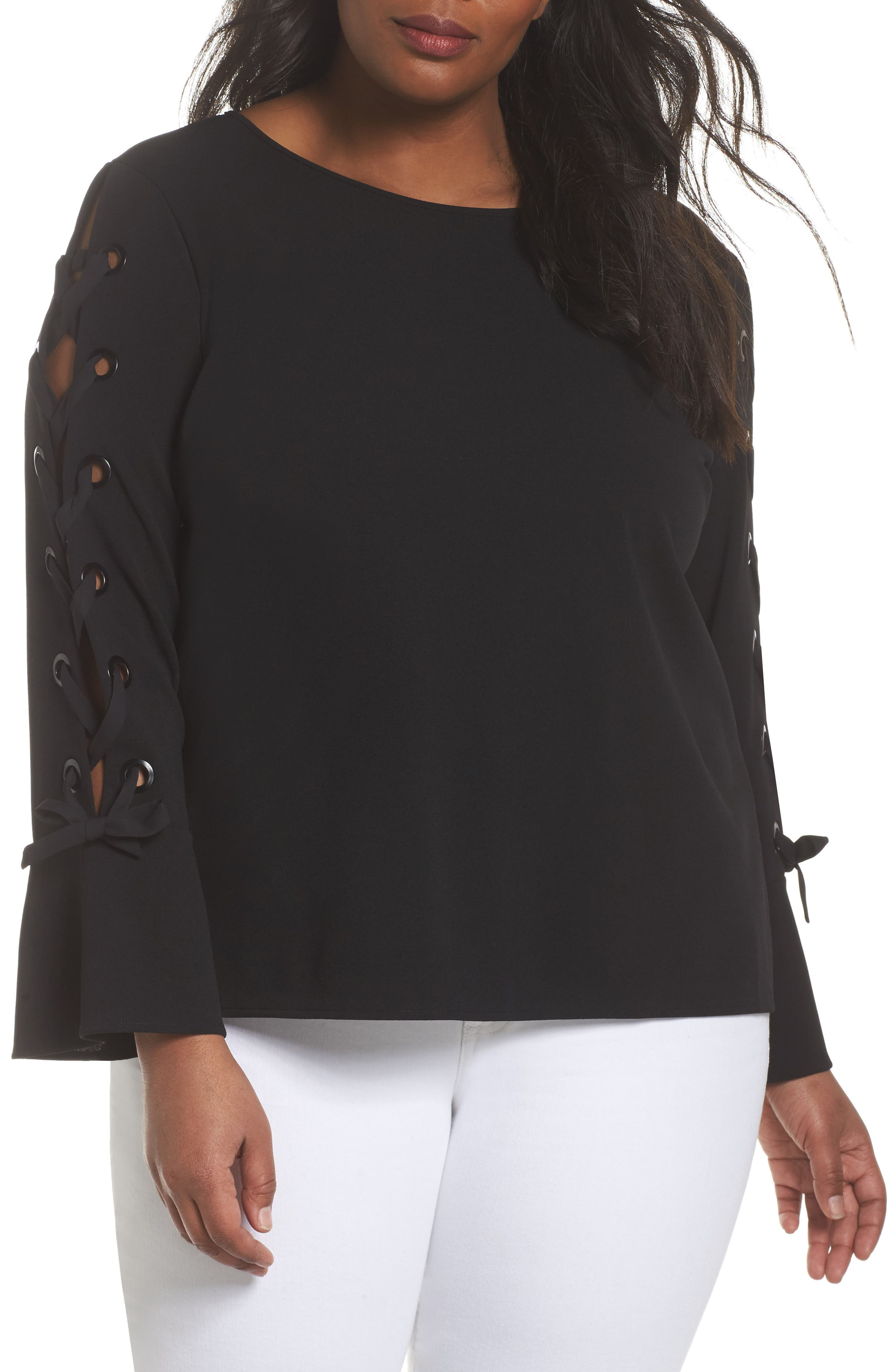 Lace-Up Bell Sleeve Top,                             Main thumbnail 1, color,