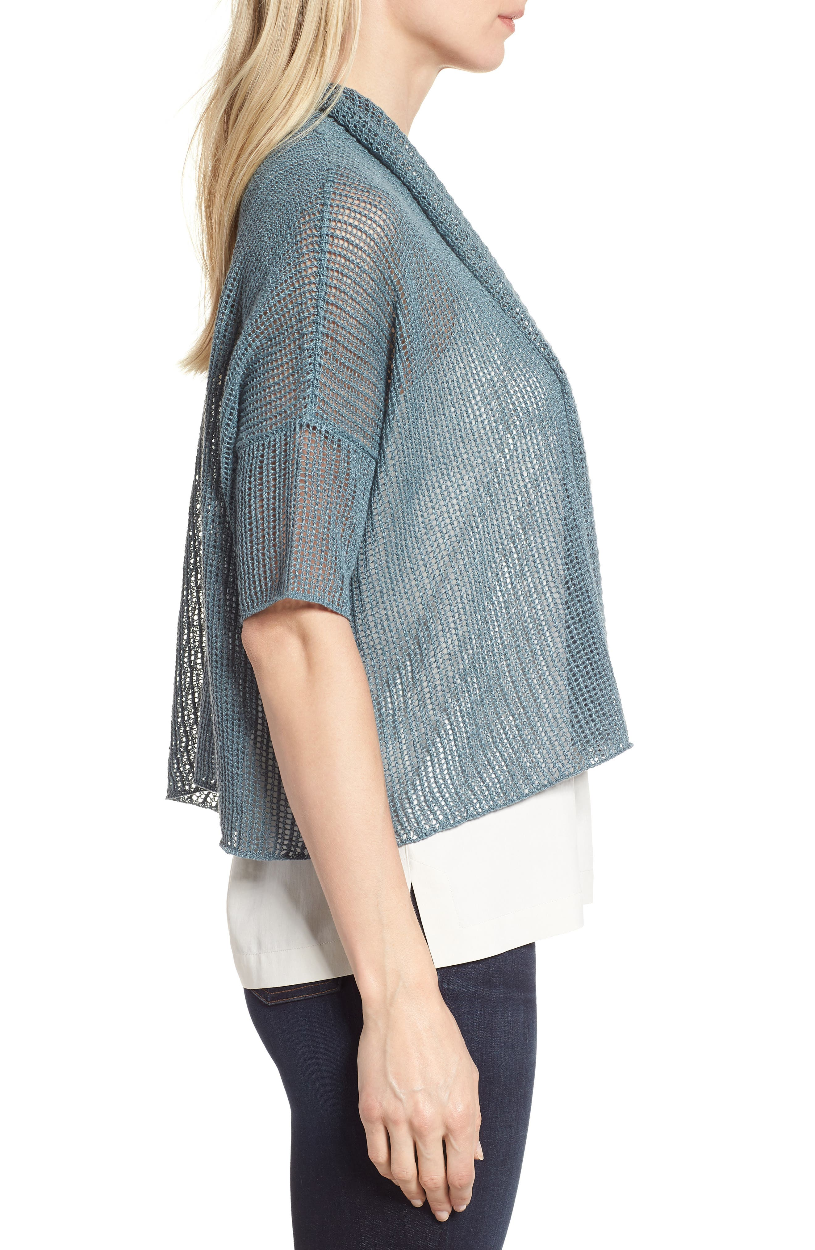 Boxy Organic Linen Cardigan,                             Alternate thumbnail 16, color,