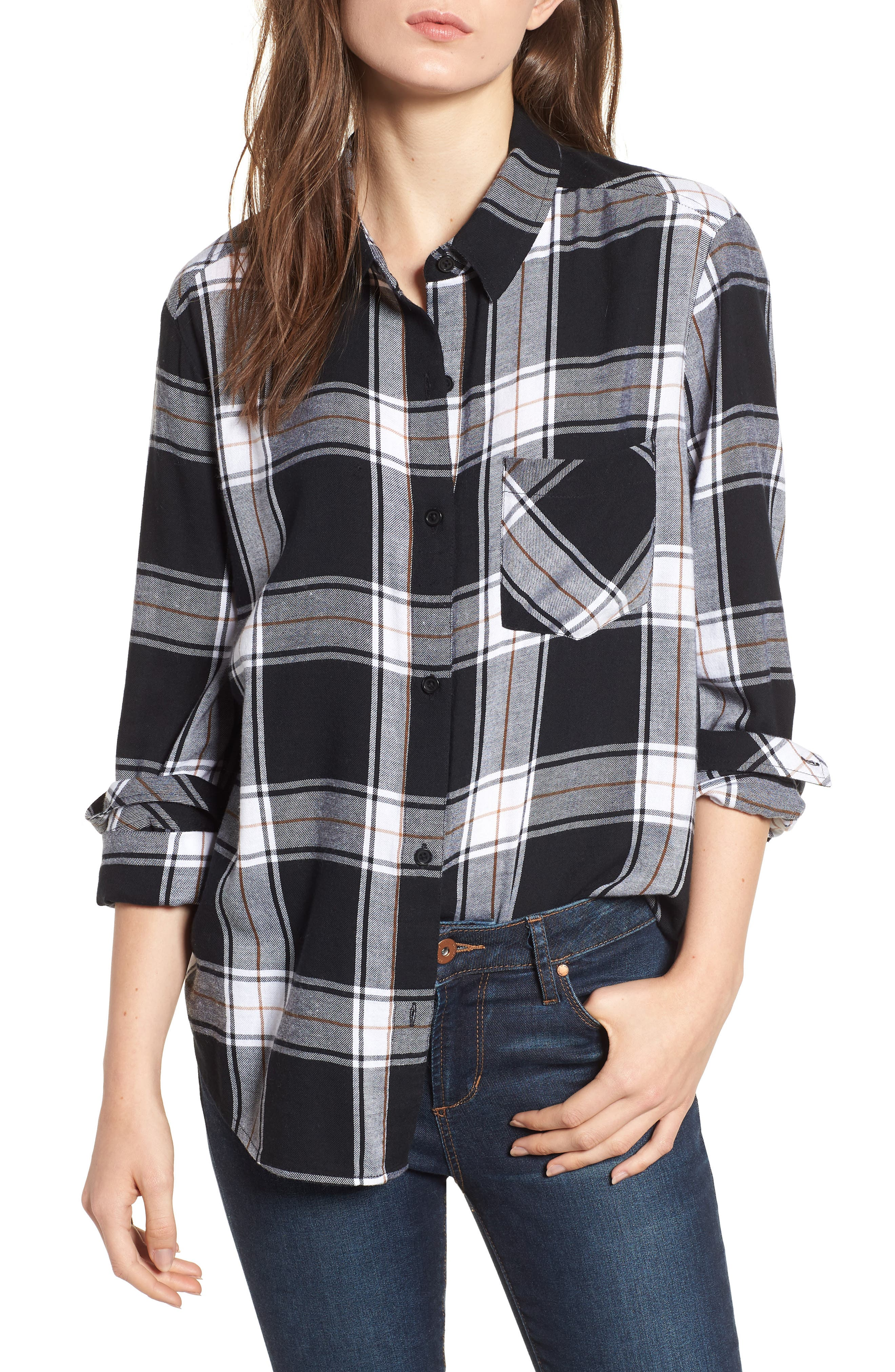 Plaid Shirt,                         Main,                         color, BLACK CAMILLE PLAID