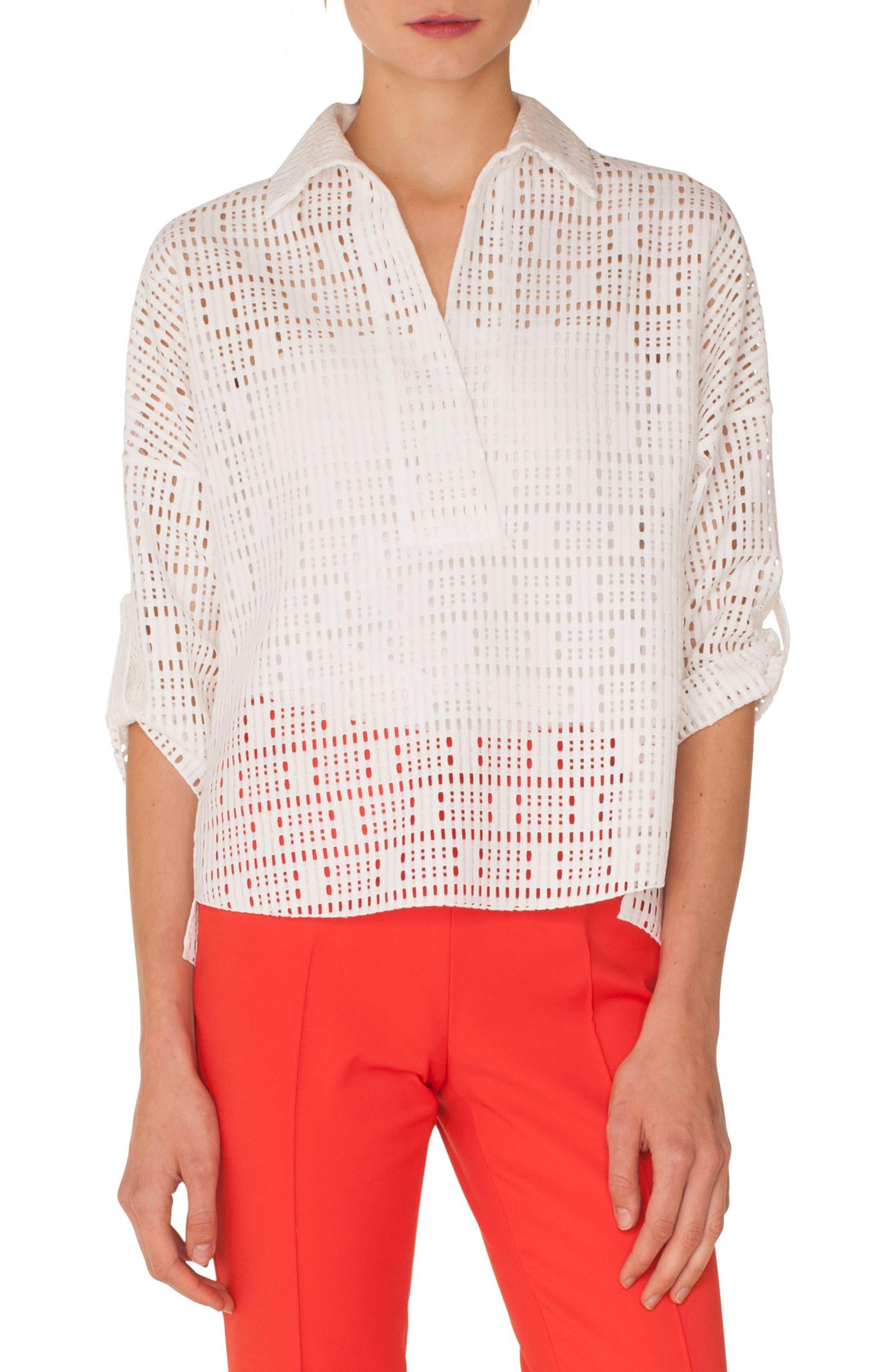Geometric Lace Blouse,                         Main,                         color, CREAM
