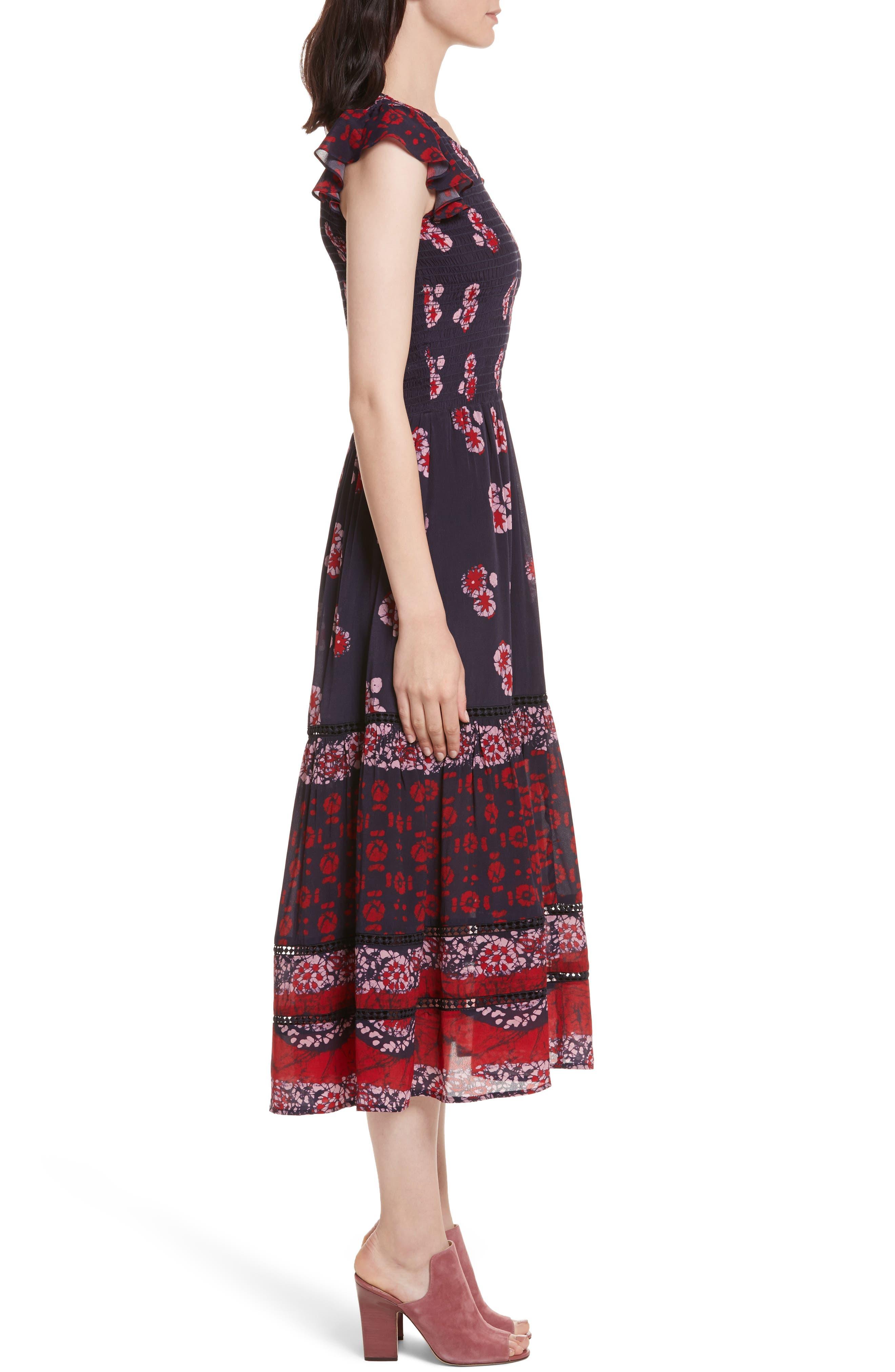 Print Flutter Sleeve Midi Dress,                             Alternate thumbnail 3, color,                             600