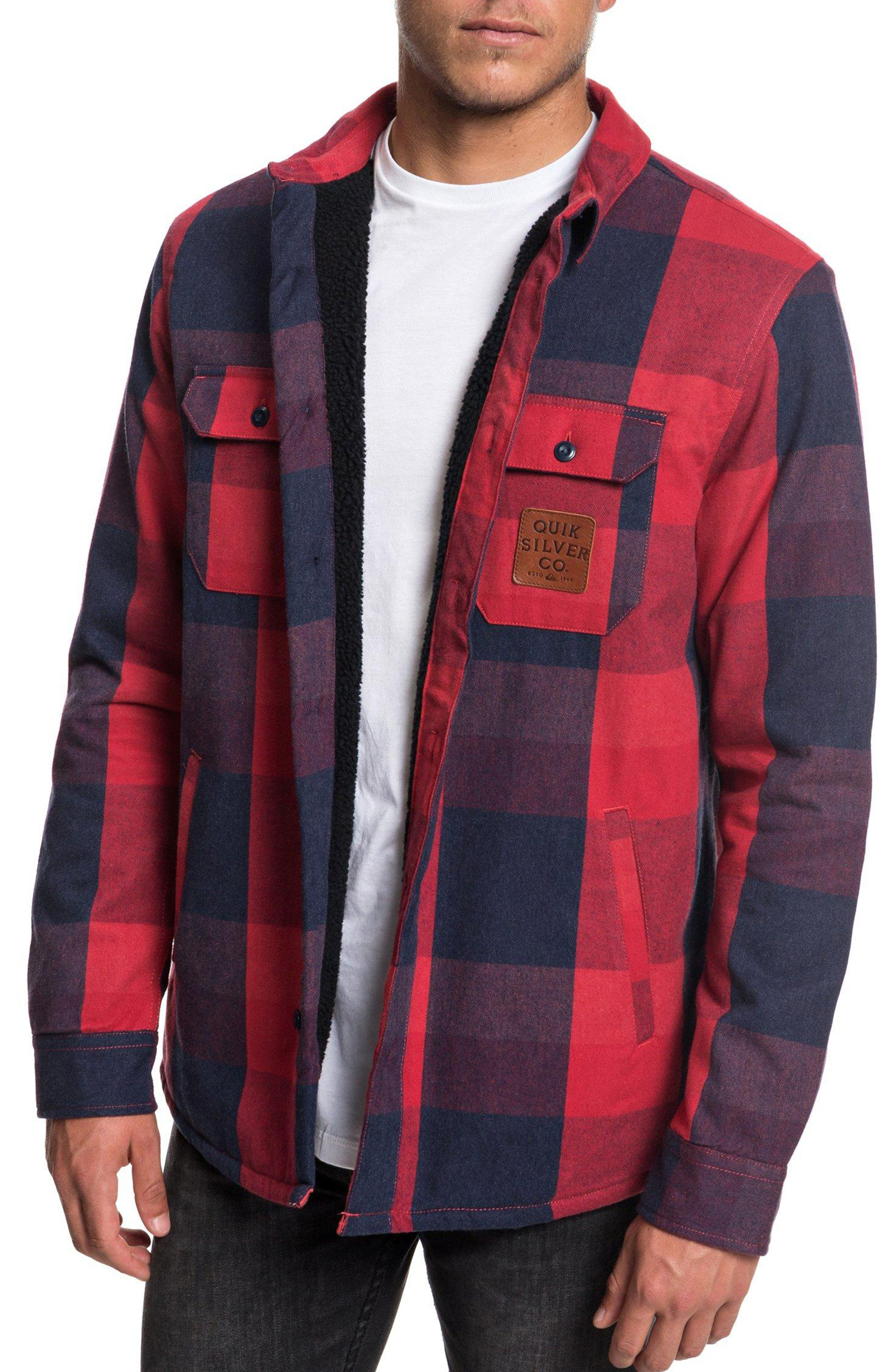 QUIKSILVER Miho Stones Long Sleeve Woven Shirt Jacket in Garnet Sherpa