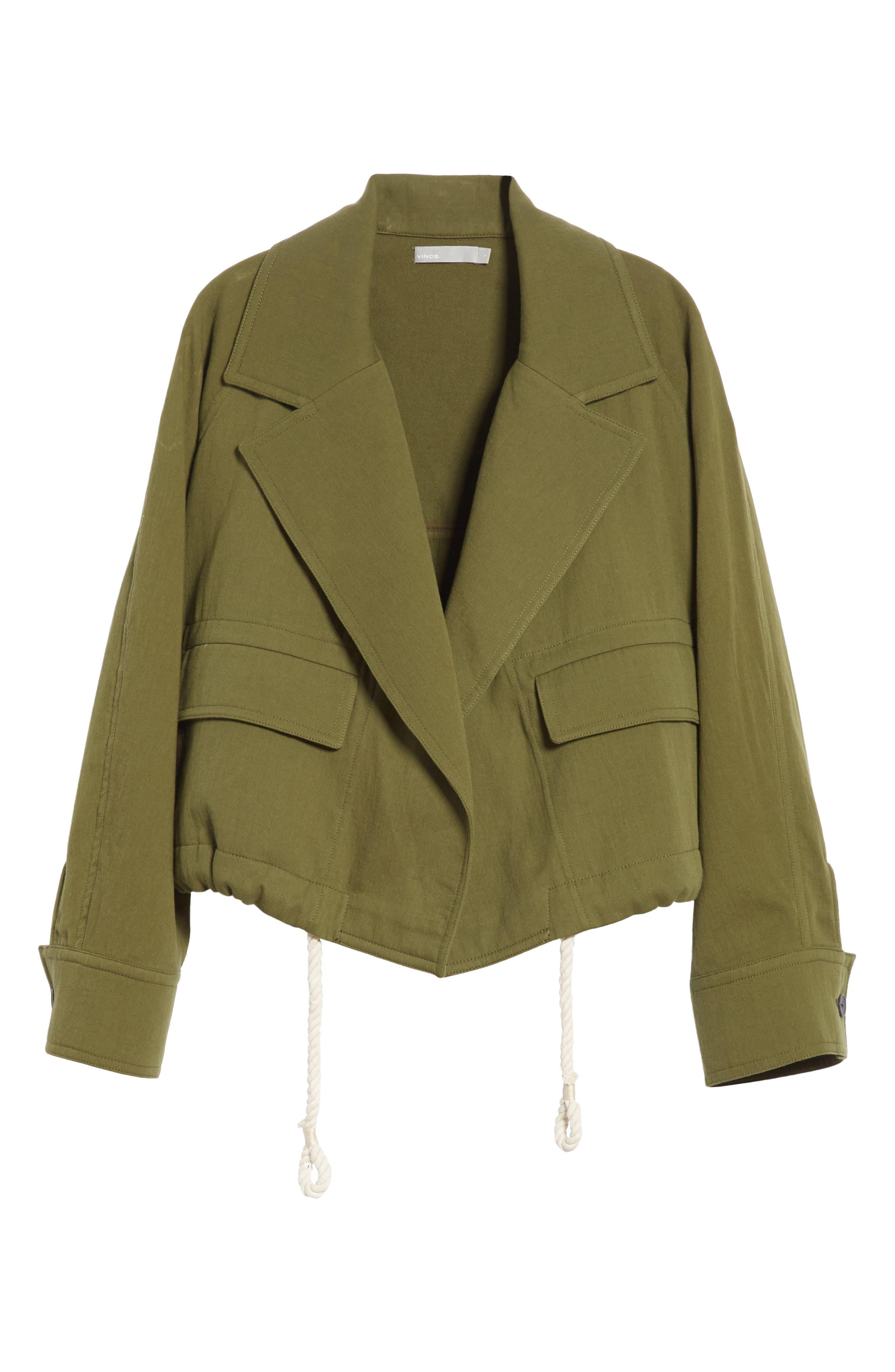 VINCE,                             Drawstring Crop Cotton Jacket,                             Alternate thumbnail 5, color,                             315
