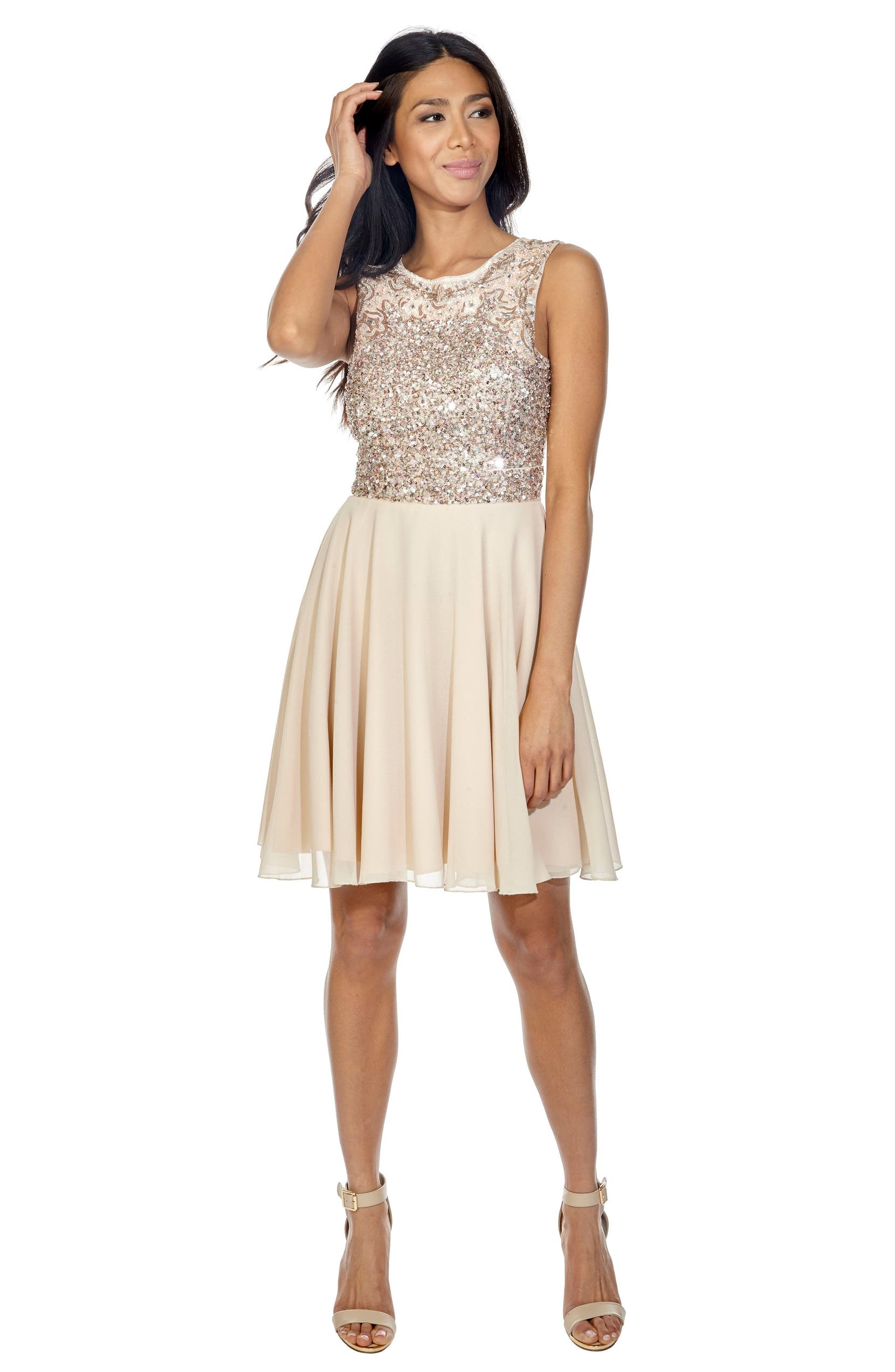f7a1f80f8d3 Lace   Beads Corals Sequin Back Cutout Dress
