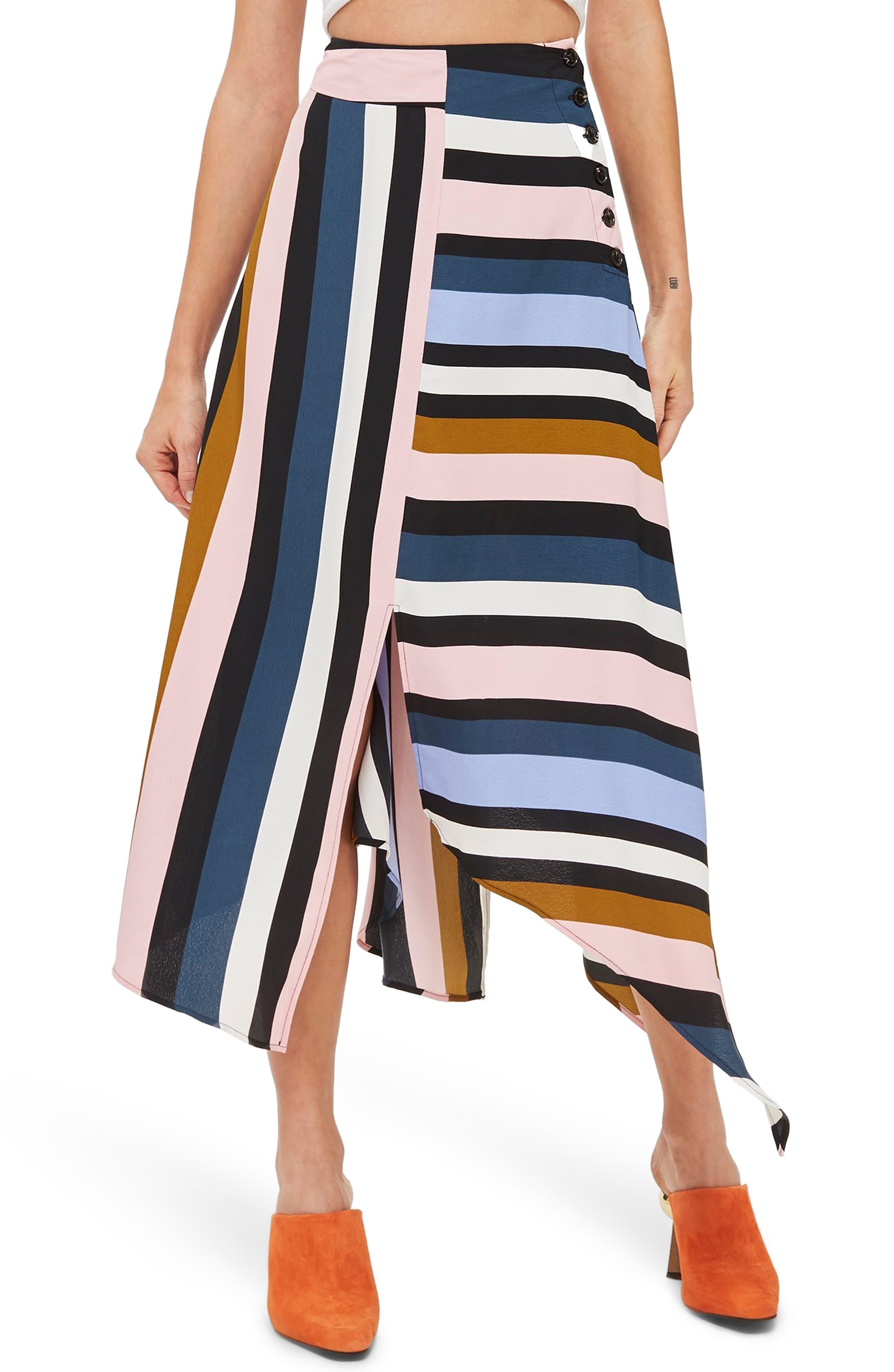 Multi Stripe Asymmetric Midi Skirt,                             Main thumbnail 1, color,                             BLACK MULTI