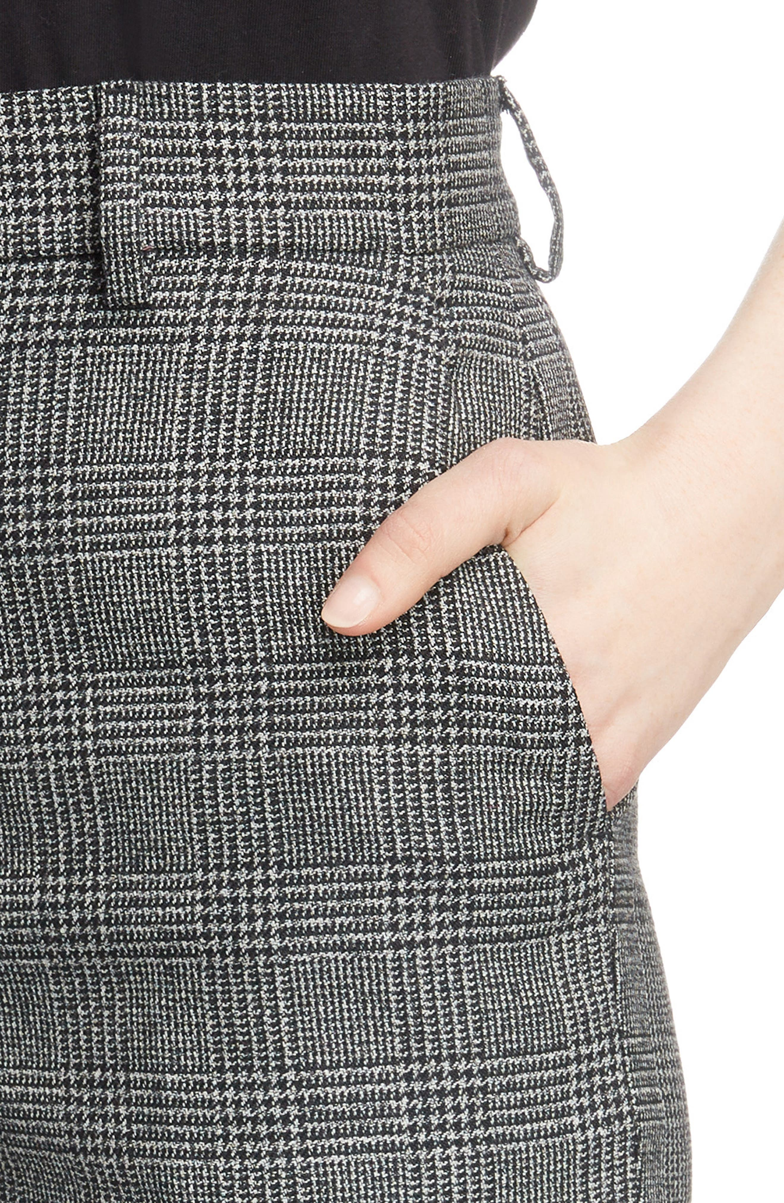 Prince of Wales Wool Carrot Trousers,                             Alternate thumbnail 4, color,                             1070-BLACK/ WHITE
