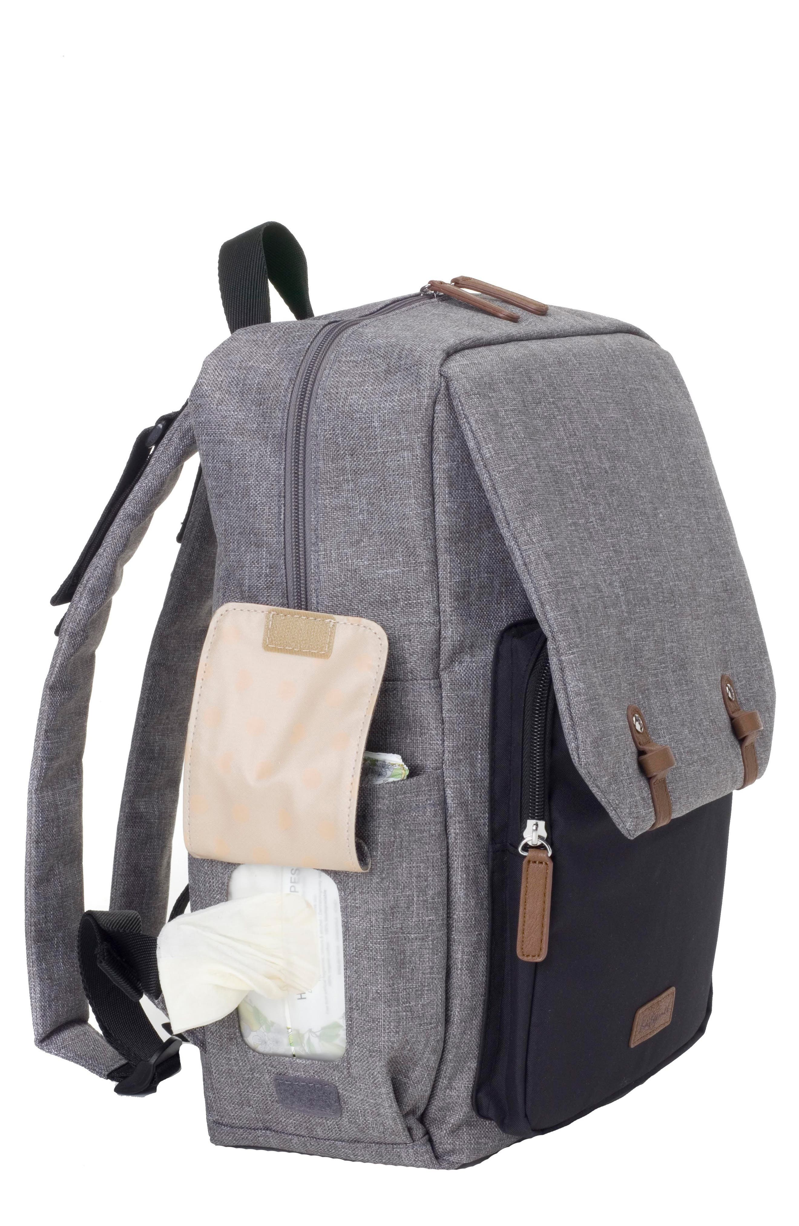 George Water Resistant Diaper Backpack,                             Alternate thumbnail 2, color,                             BLACK/ GREY