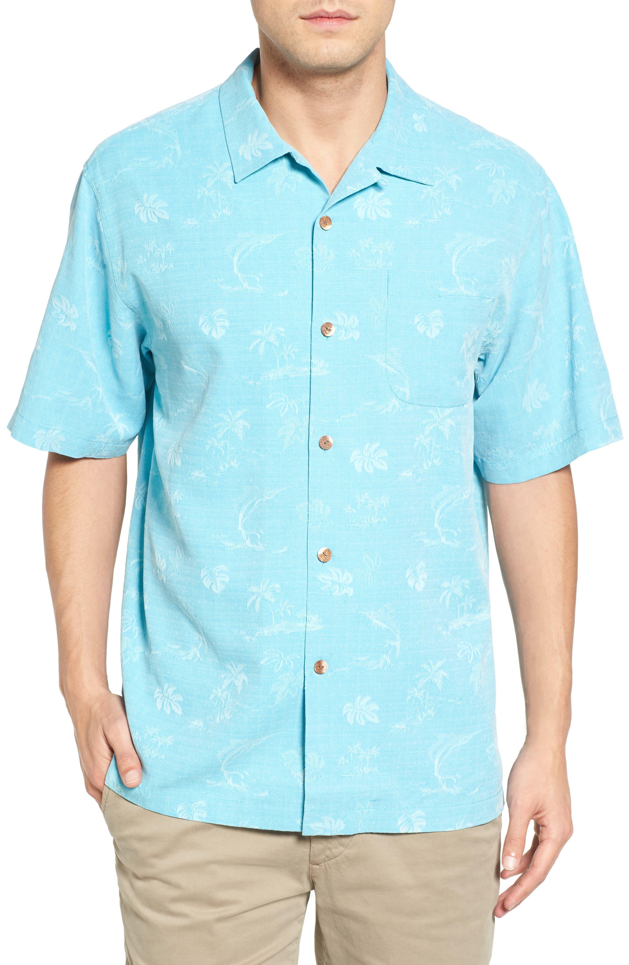 Gulf Shore Marlin Silk Camp Shirt,                             Main thumbnail 3, color,
