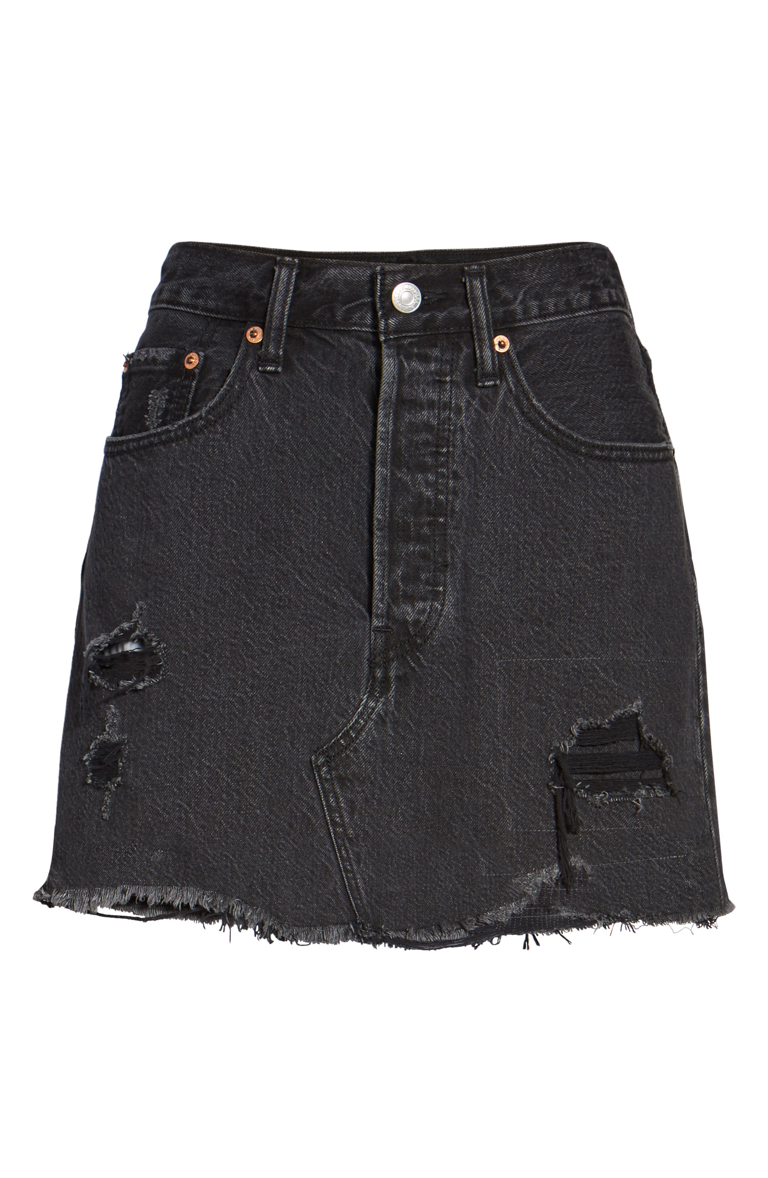 Deconstructed Denim Skirt,                             Alternate thumbnail 7, color,                             001