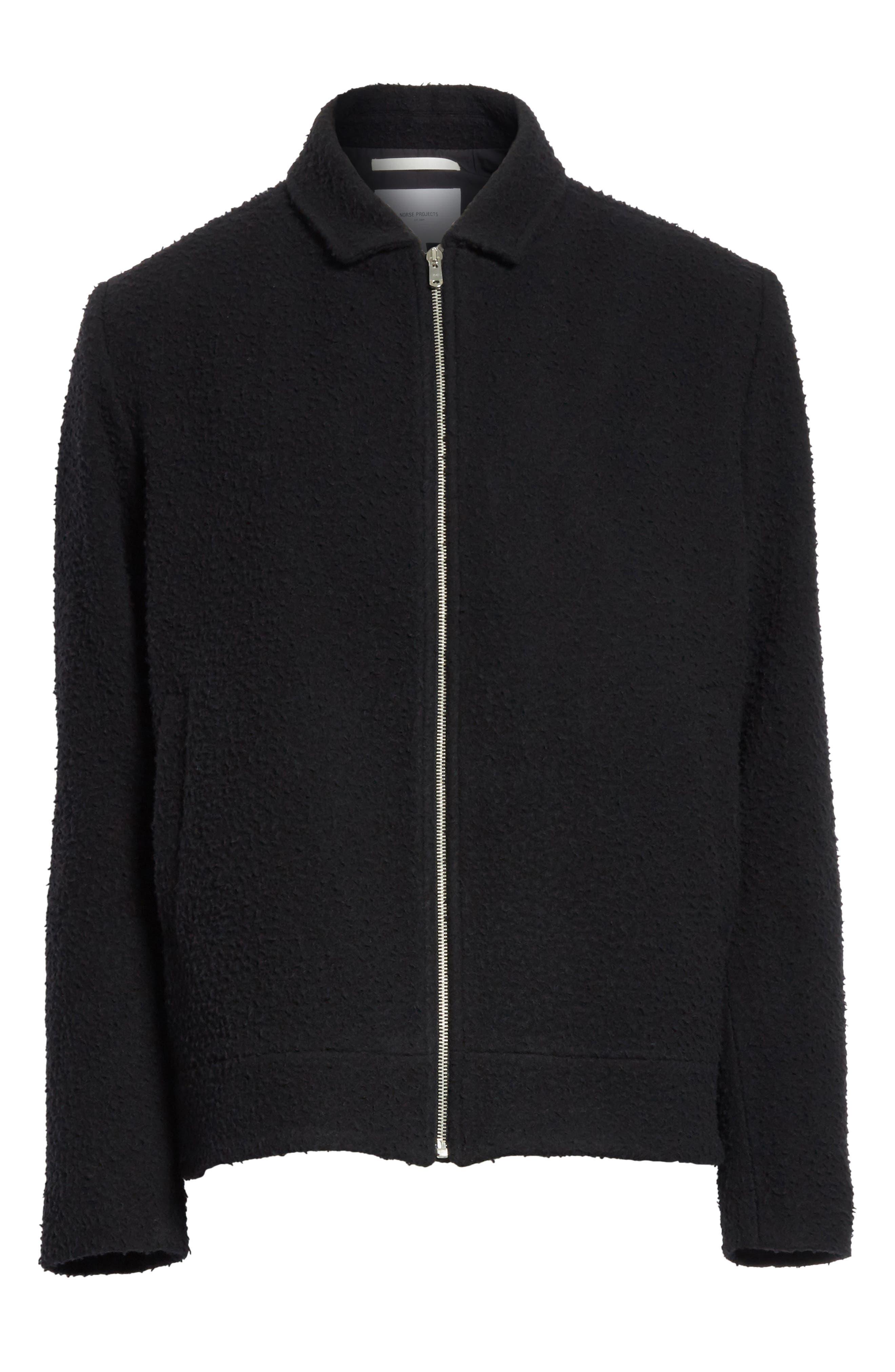 Elliott Boiled Wool Blend Jacket,                             Alternate thumbnail 5, color,                             001