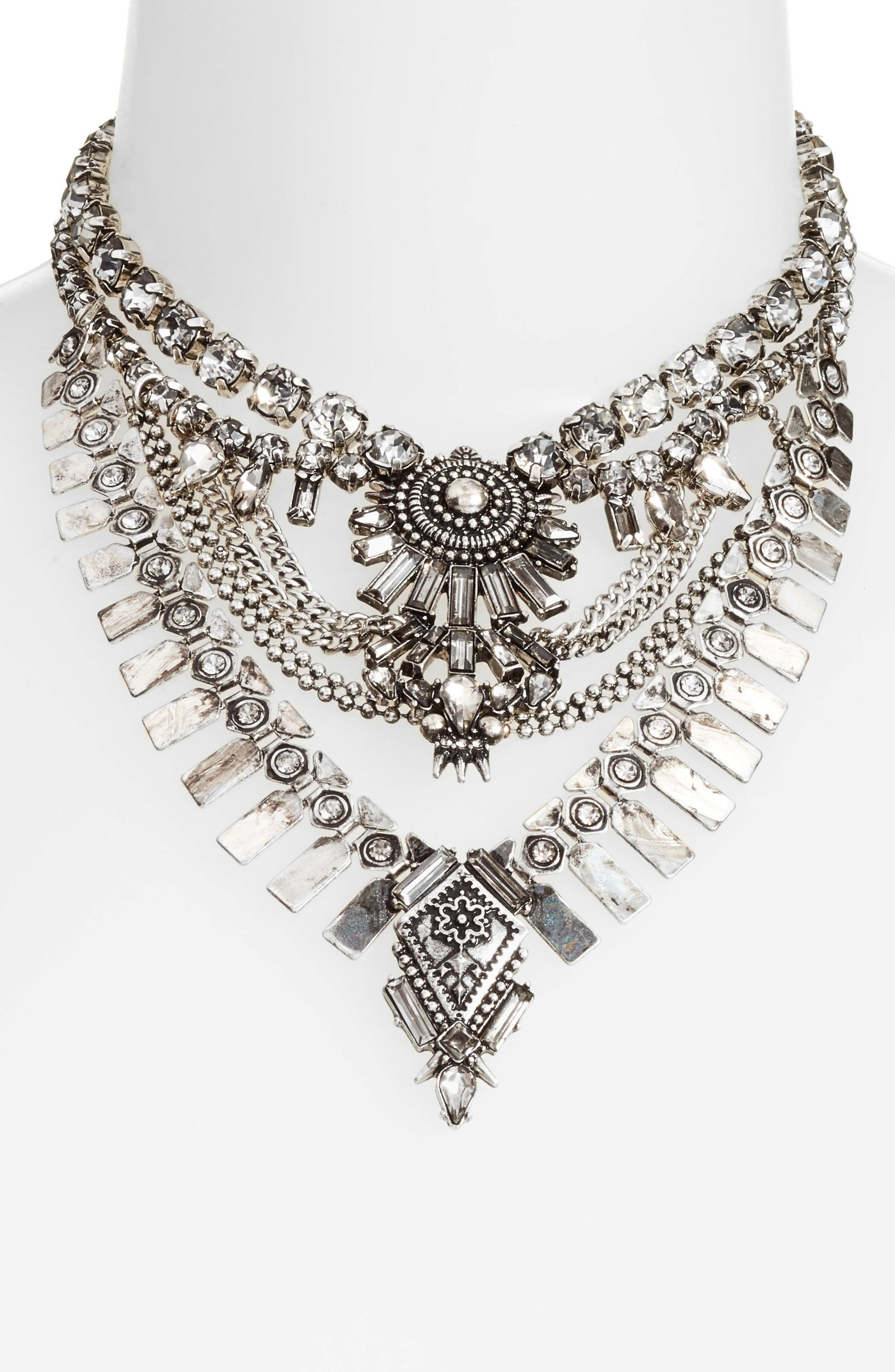Curb Chain & Crystal Necklace,                             Alternate thumbnail 2, color,                             040