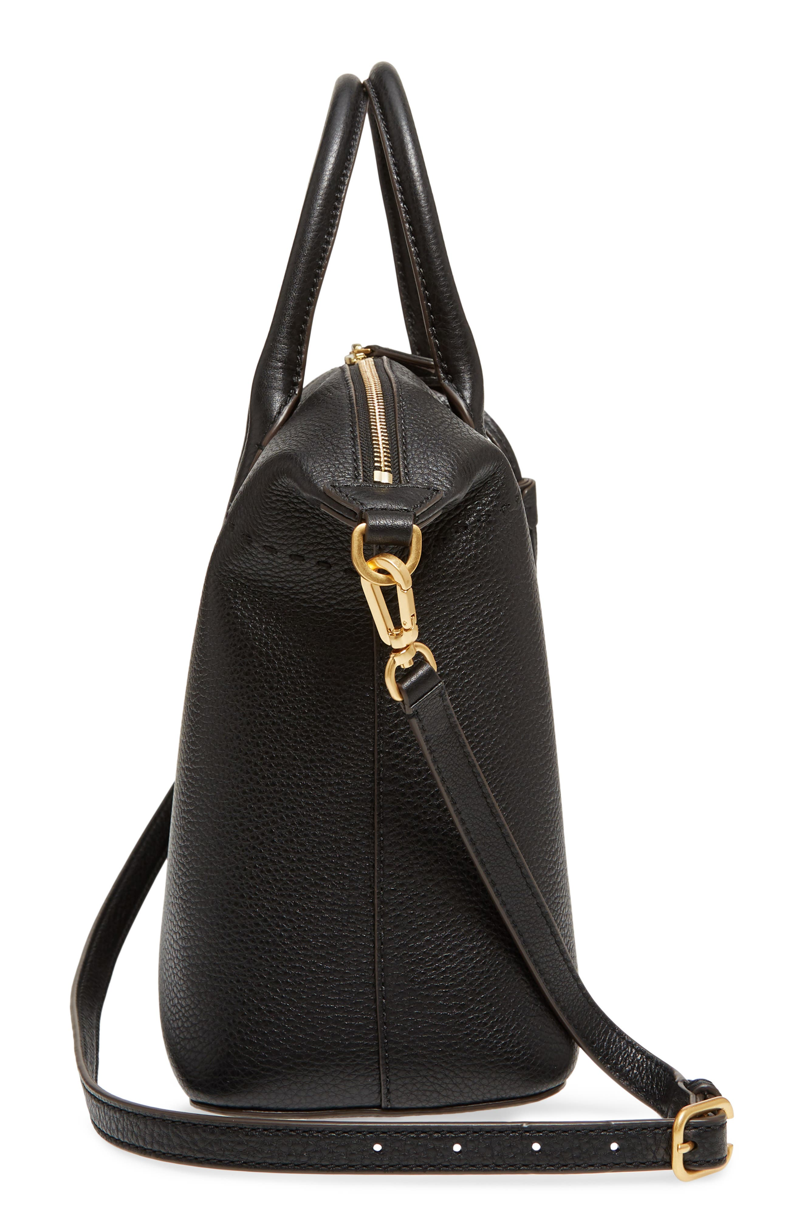 TORY BURCH,                             McGraw Slouchy Leather Satchel,                             Alternate thumbnail 6, color,                             BLACK