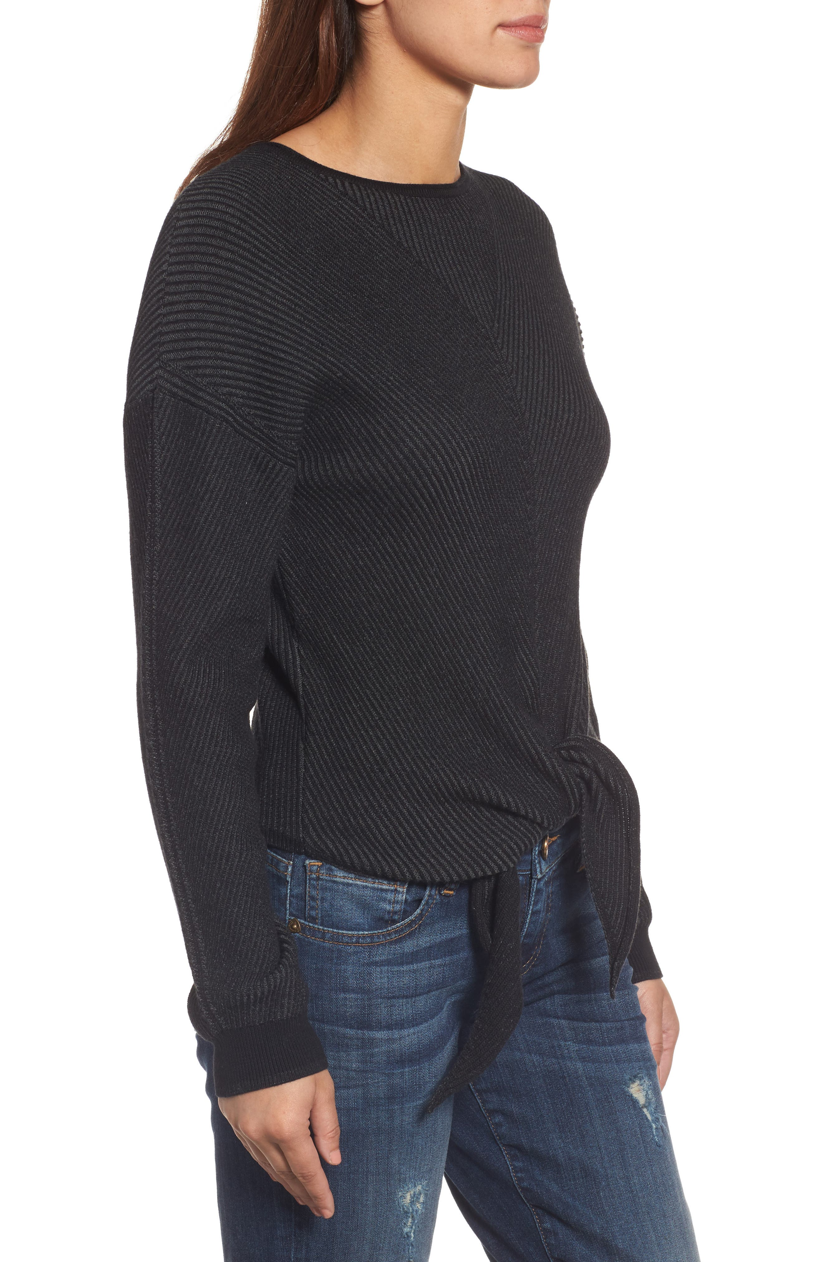 Tie Front Sweater,                             Alternate thumbnail 3, color,                             010