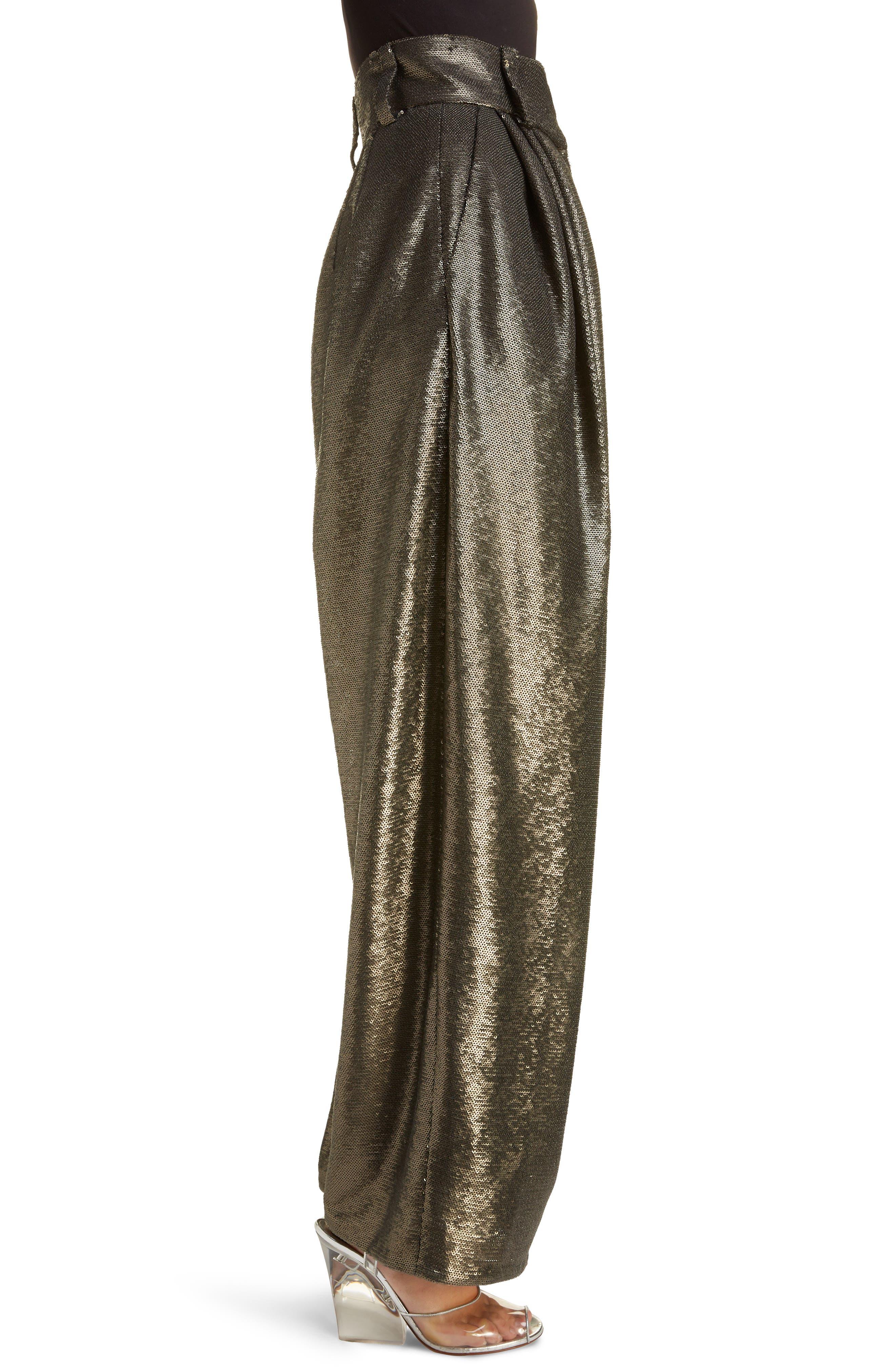 High Waist Wide Leg Sequin Pants,                             Alternate thumbnail 3, color,                             GREY