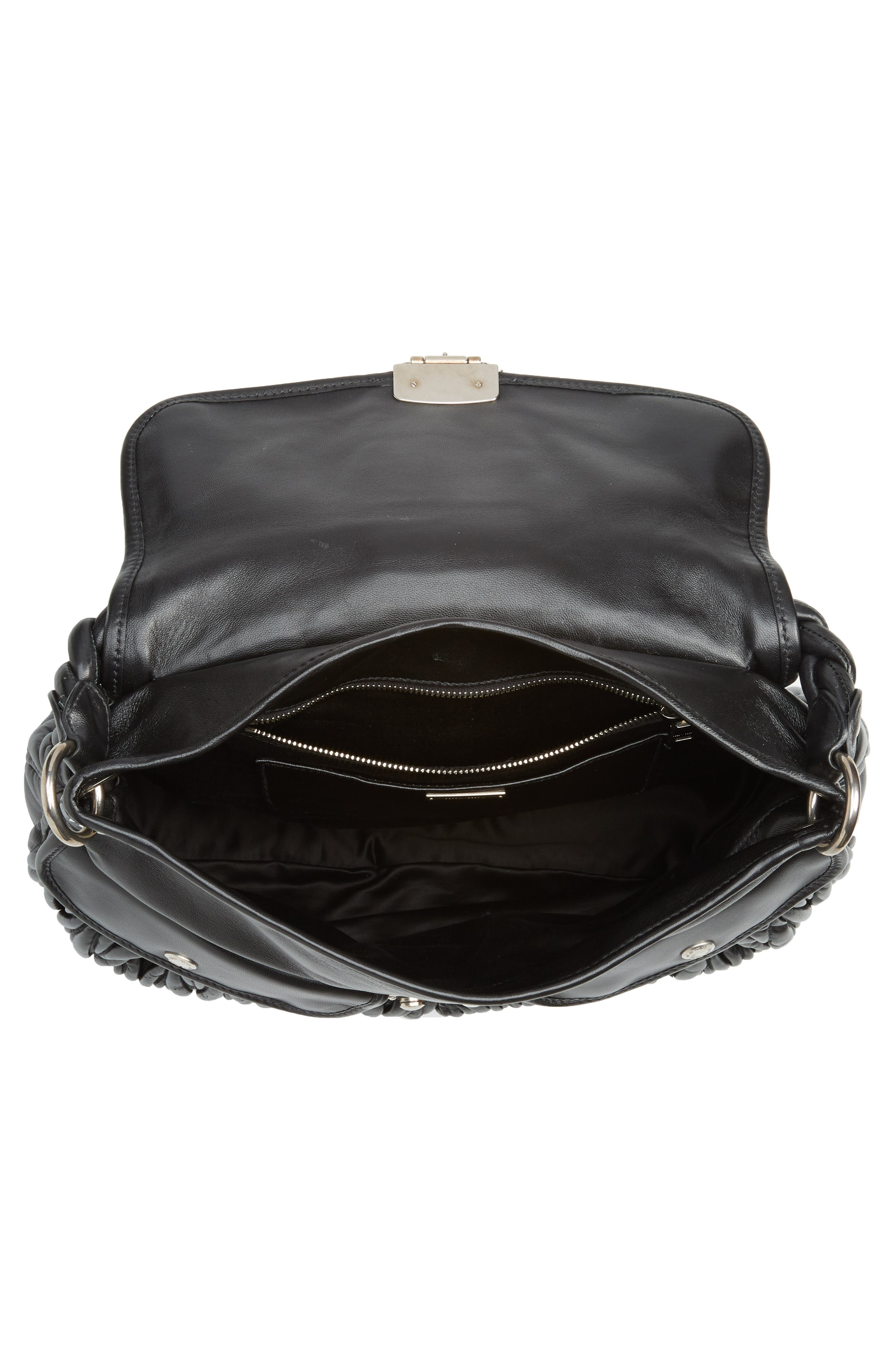 Matelassé Lambskin Leather Shoulder Bag,                             Alternate thumbnail 4, color,                             NERO