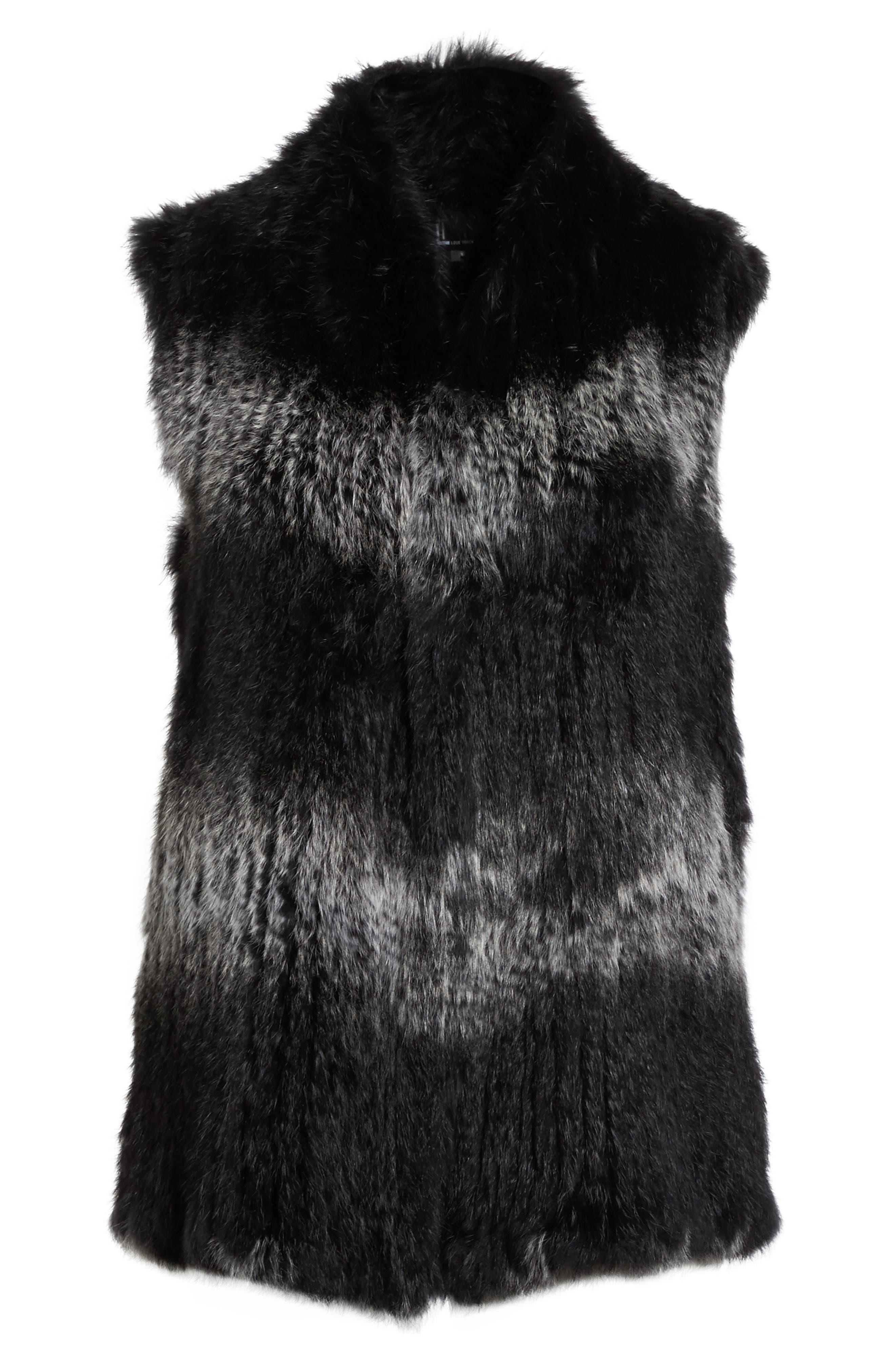 Genuine Rabbit Fur Vest,                             Alternate thumbnail 2, color,